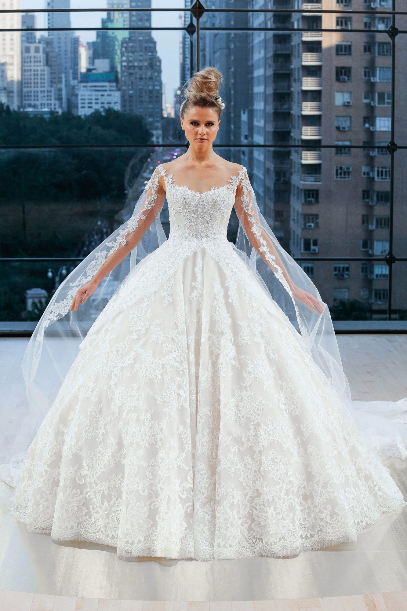 ines di santo wedding dress fall 2018 long sleeves lace ball gown