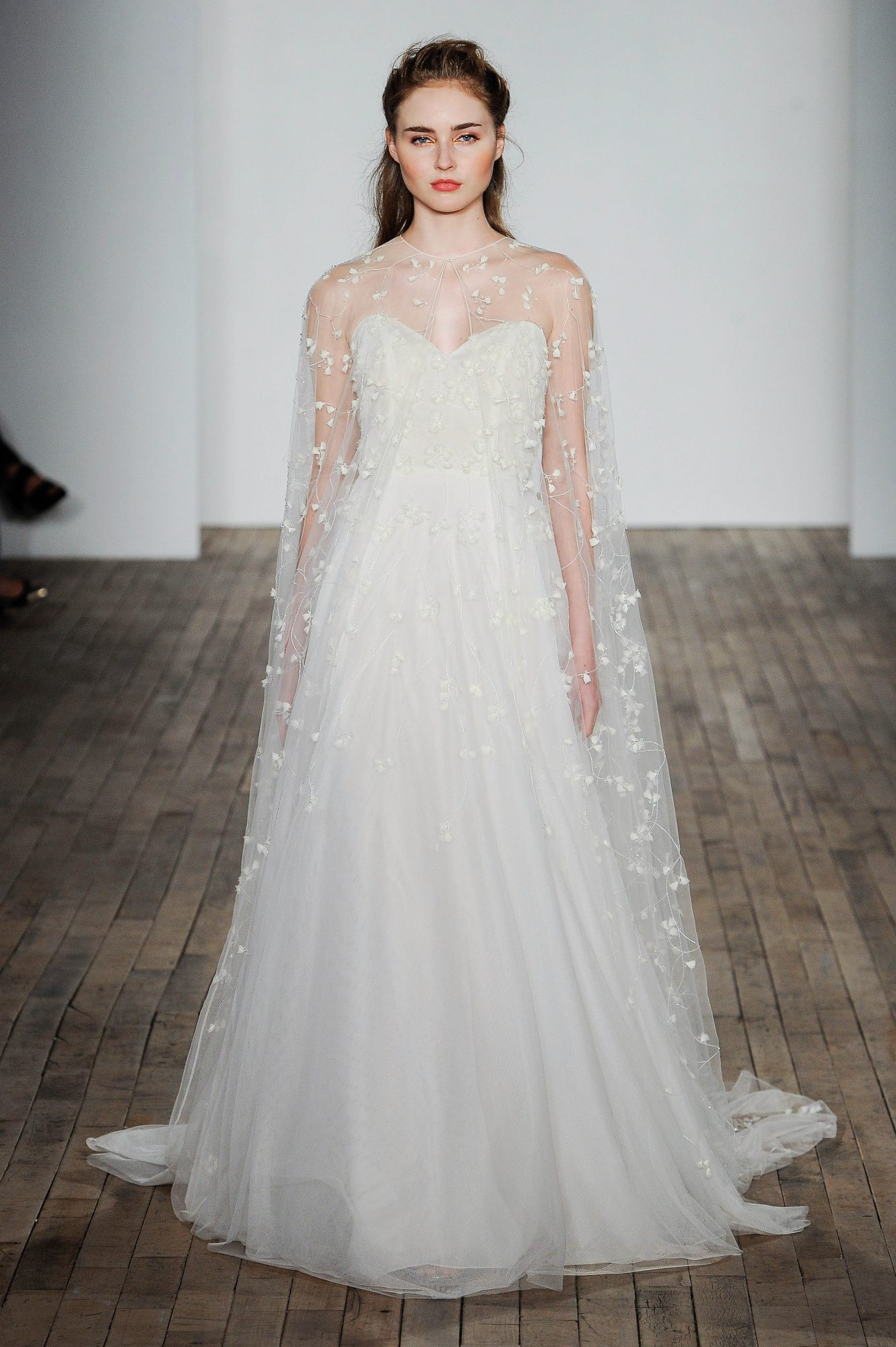 Allison Webb Sweetheart with Sheer Cape Wedding Dress Fall 2018