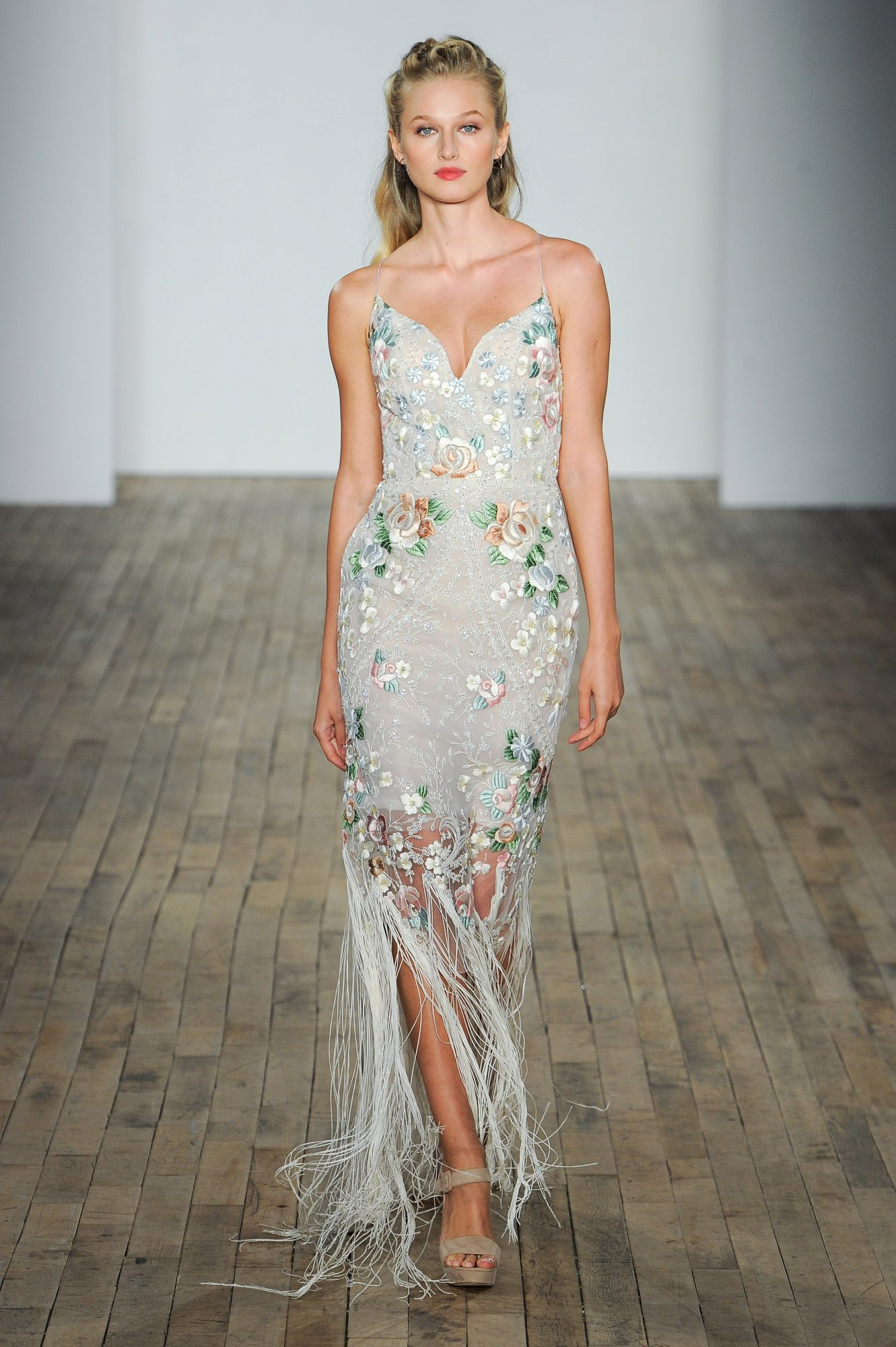 hayley paige fall 2018 floral off white wedding dress
