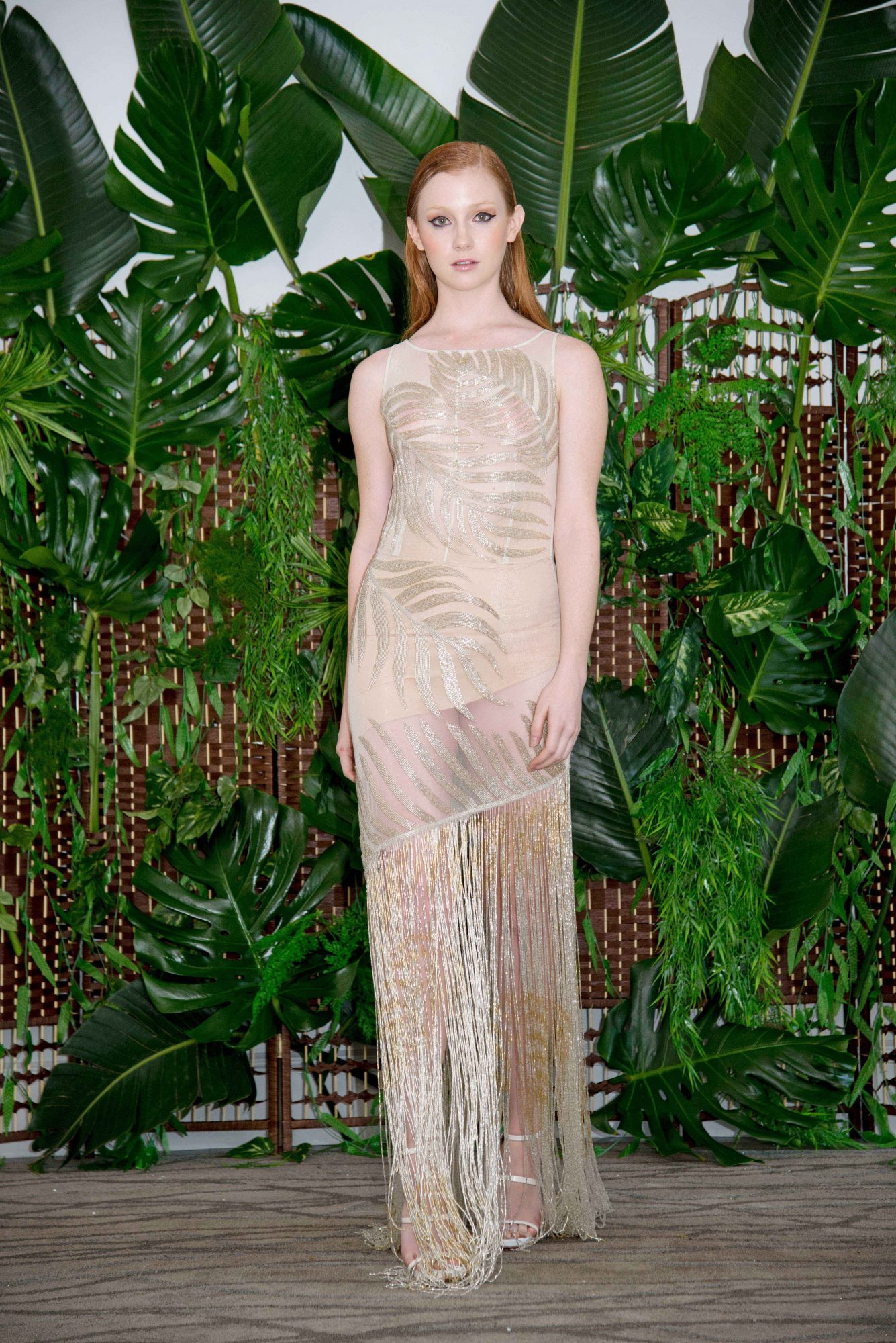 persy nude wedding dress with high neckline and fringe fall 2018