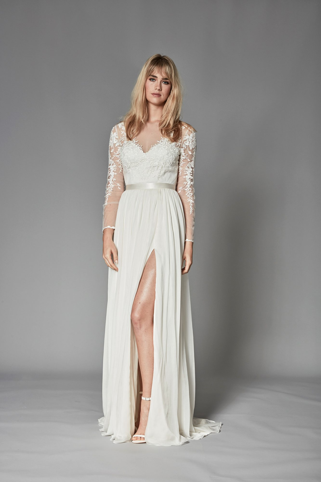 catherine deane fall 2018 sheer long sleeves embroidered bodice