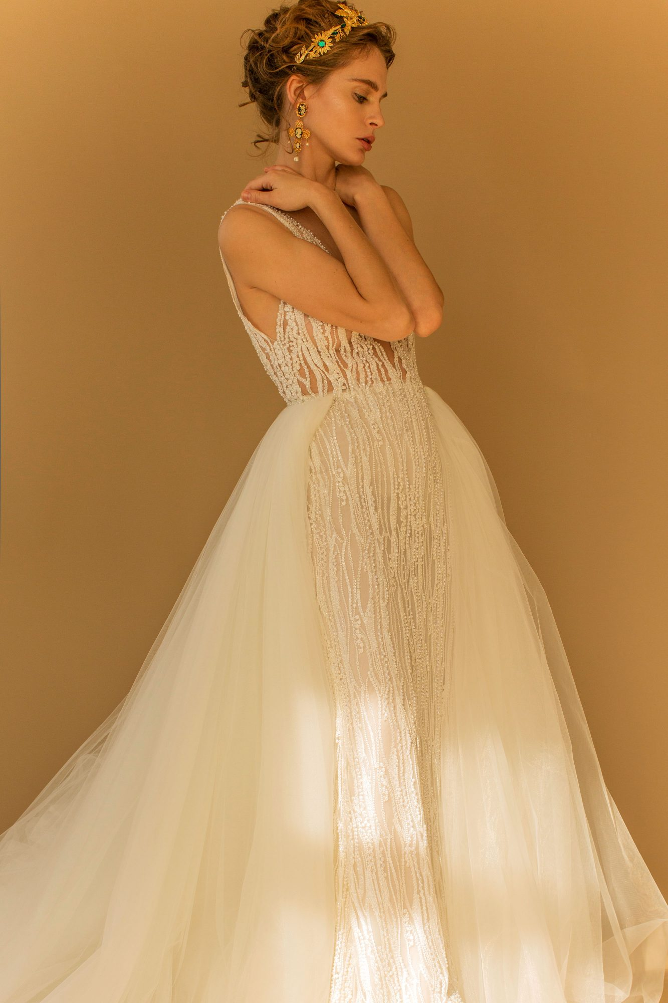 francesca miranda wedding dress fall 2018 tulle sleeveless embellished