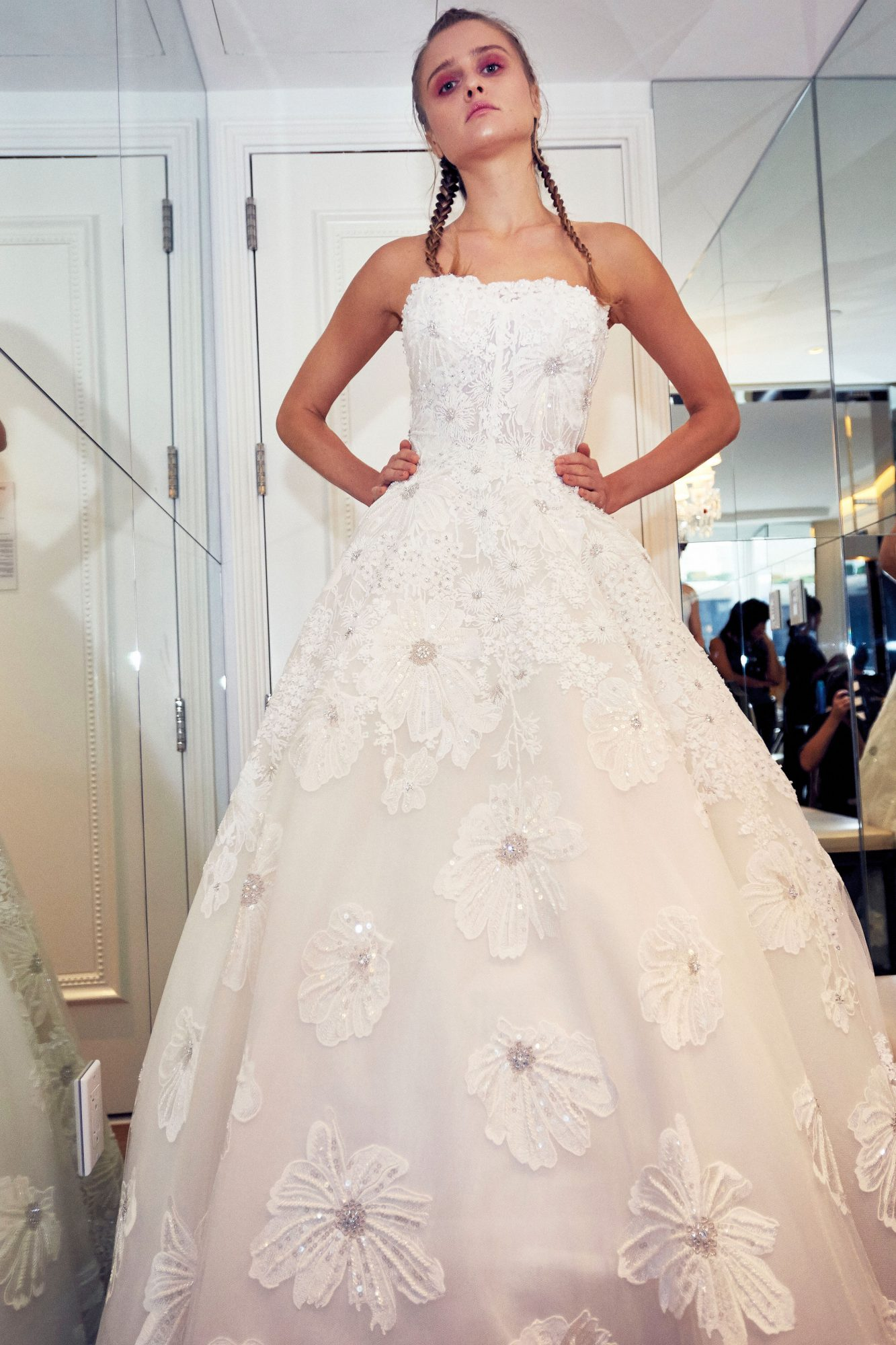isabelle armstrong wedding dress fall 2018 strapless flower embellished ball gown