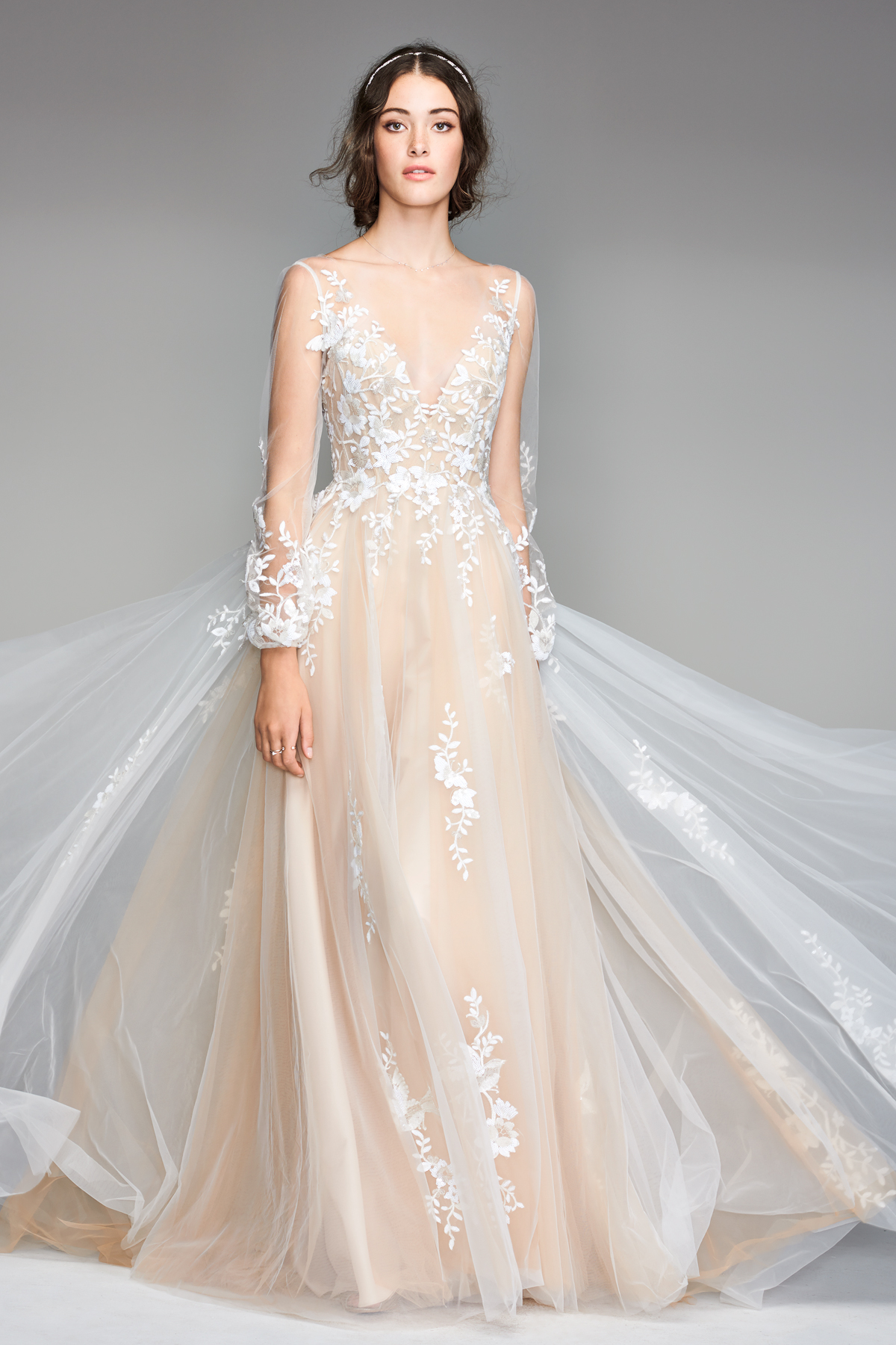 willowby by watters 2018 long-sleeve floral wedding dress