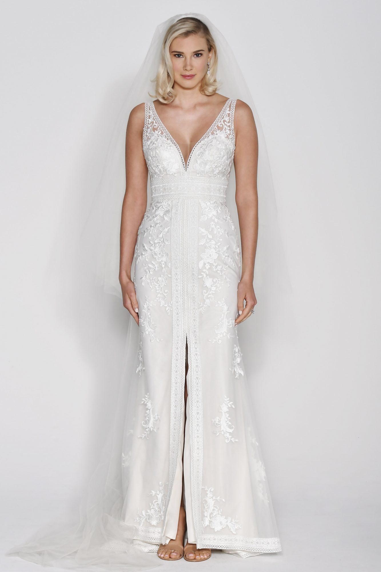 Wtoo by Watters V-Neck Sheath with Slit Skirt Wedding Dress Fall 2018