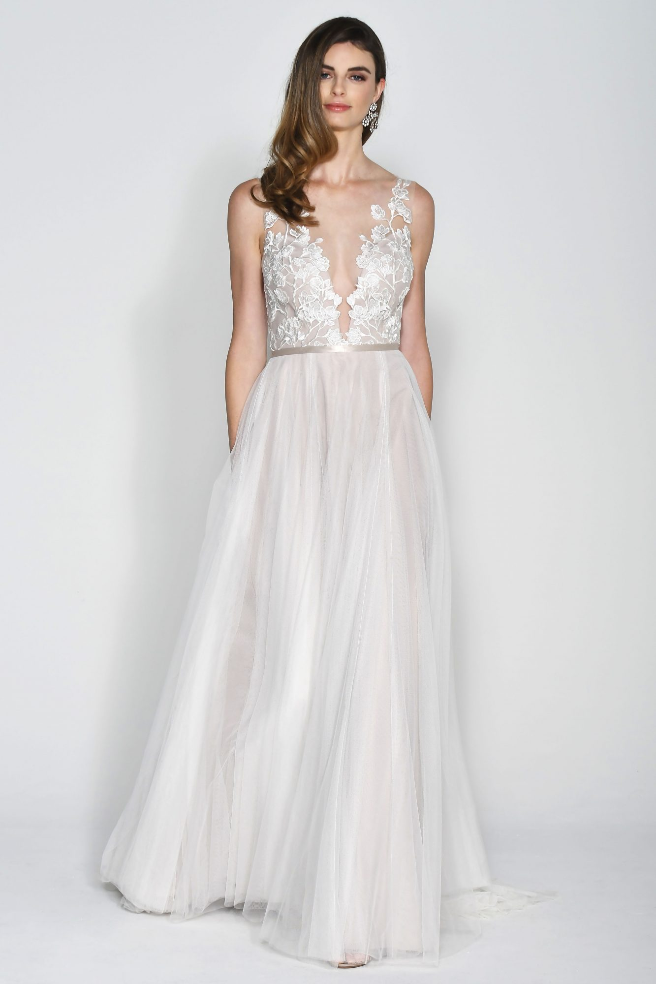 Wtoo by Watters Floral Low Cut V-Neck Wedding Dress Fall 2018