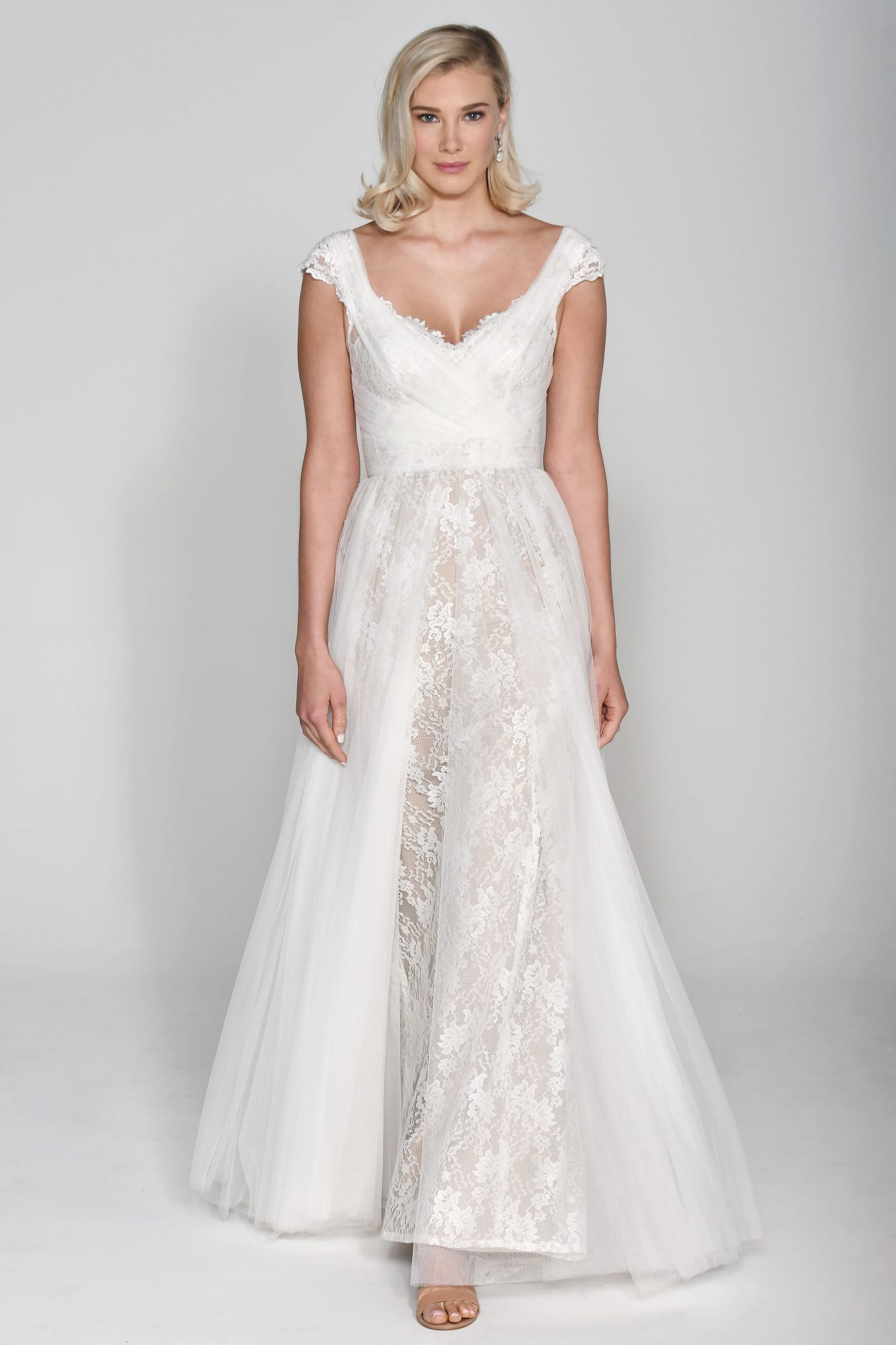 Wtoo by Watters V-Neck with Sheer Skirt Wedding Dress Fall 2018
