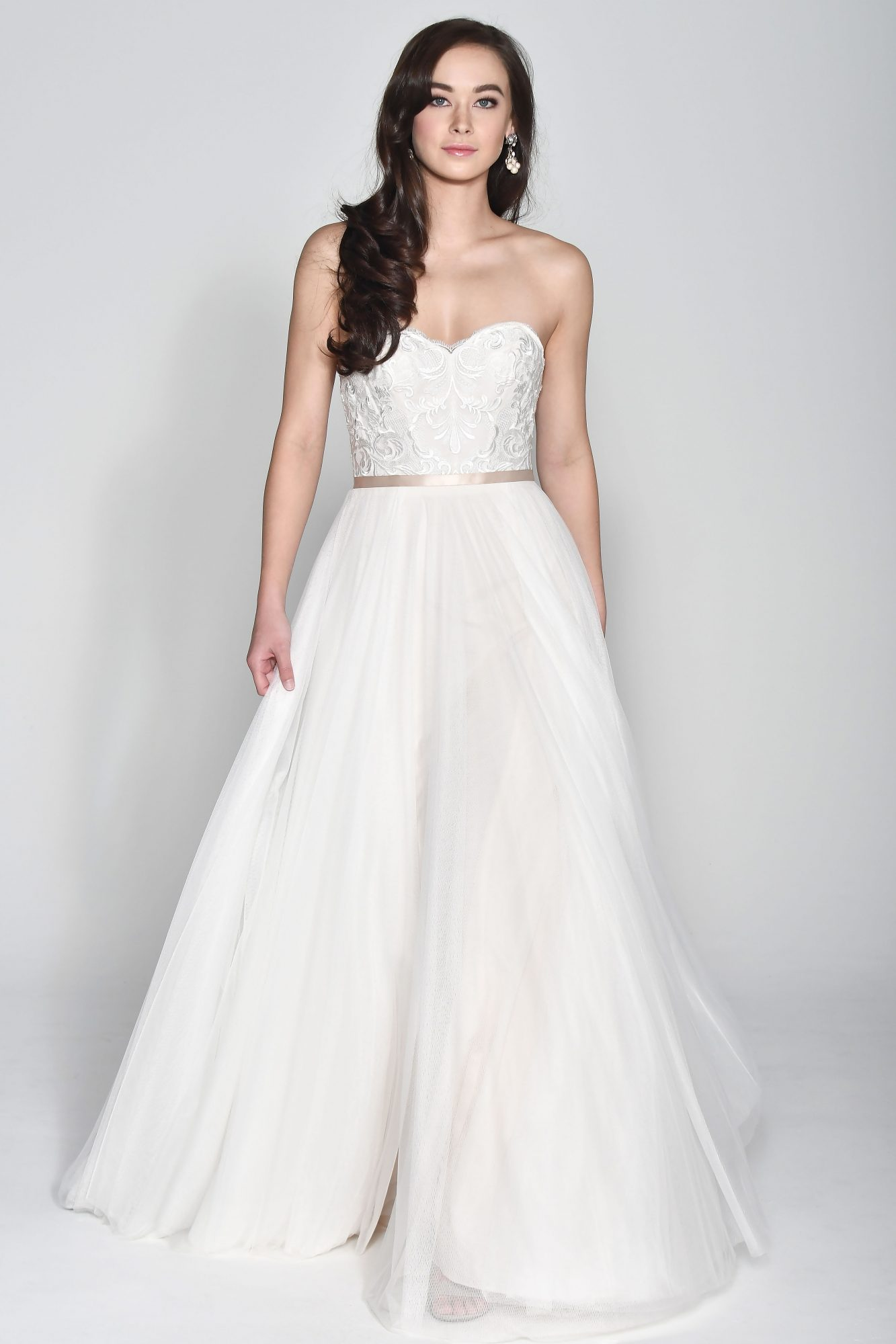 Wtoo by Watters Off-the-Shoulder Ball Gown with Sash Wedding Dress Fall 2018