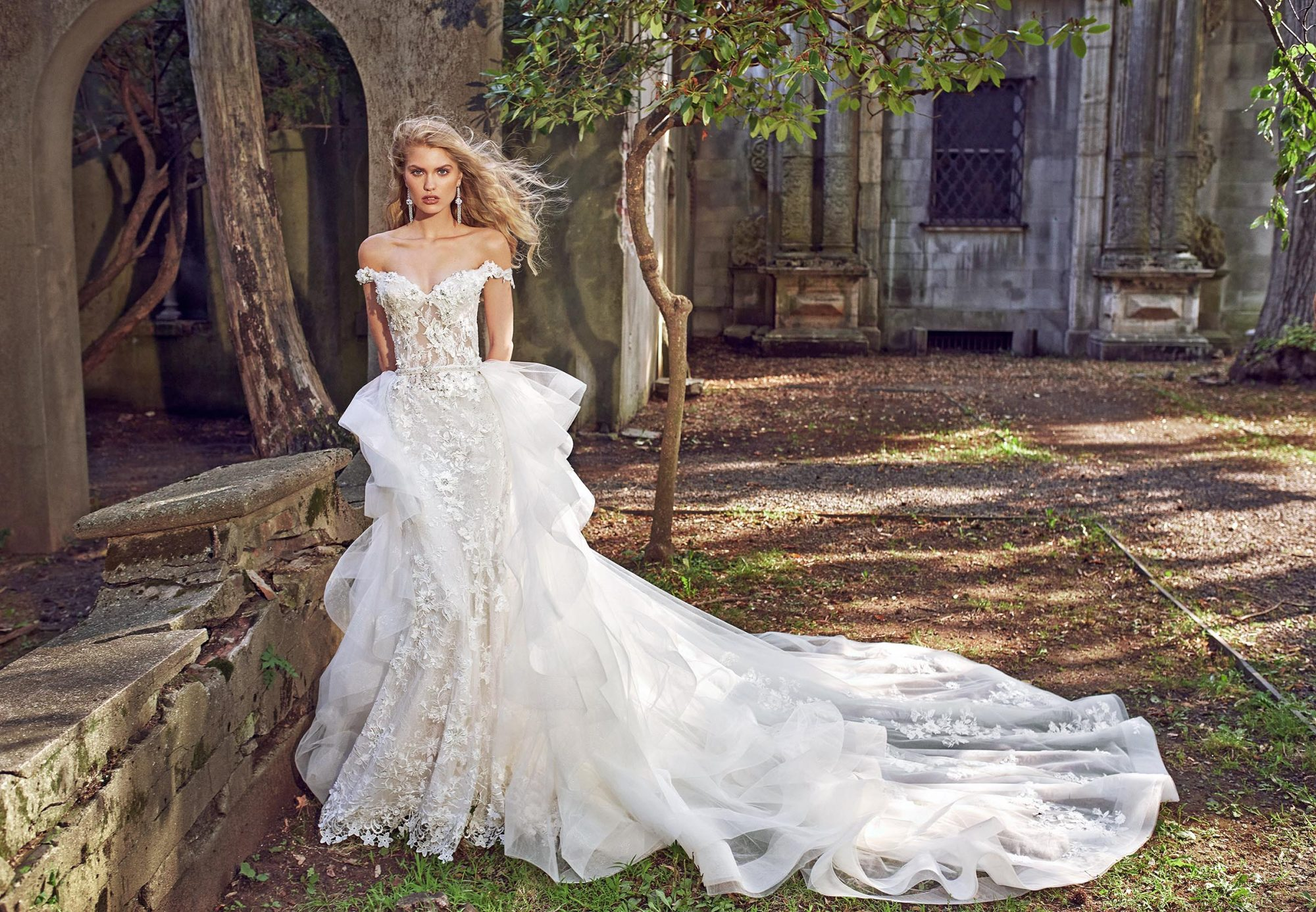 eve of milady off-the-shoulder sheath with train wedding dress fall 2018