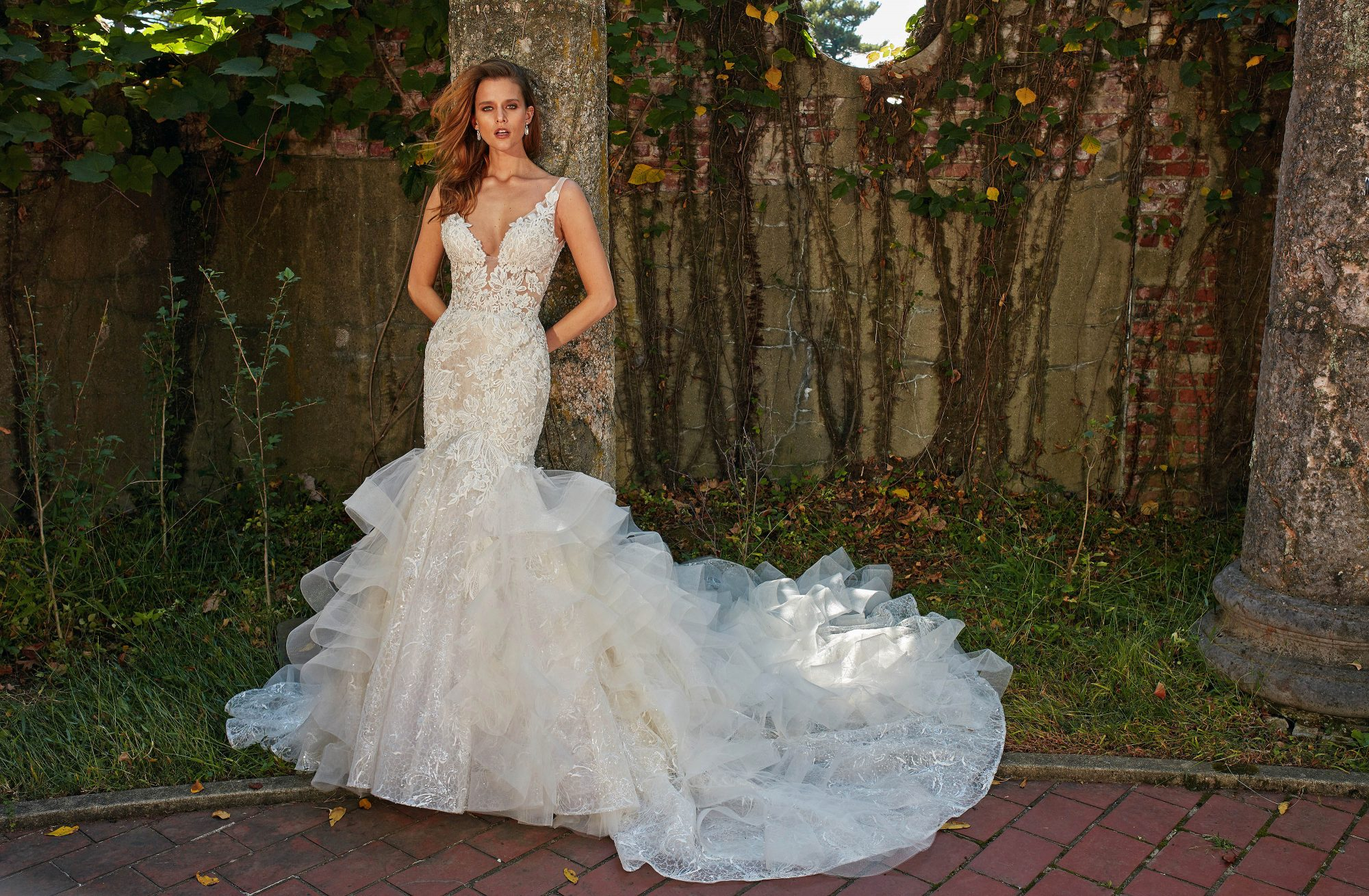eve of milady v-neck trumpet with layered skirt wedding dress fall 2018