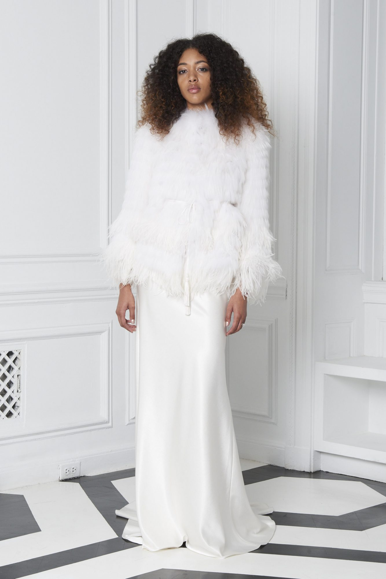 Monique Lhuillier Bliss Fall 2018 Silk Sheath Wedding Dress with Feather Jacket