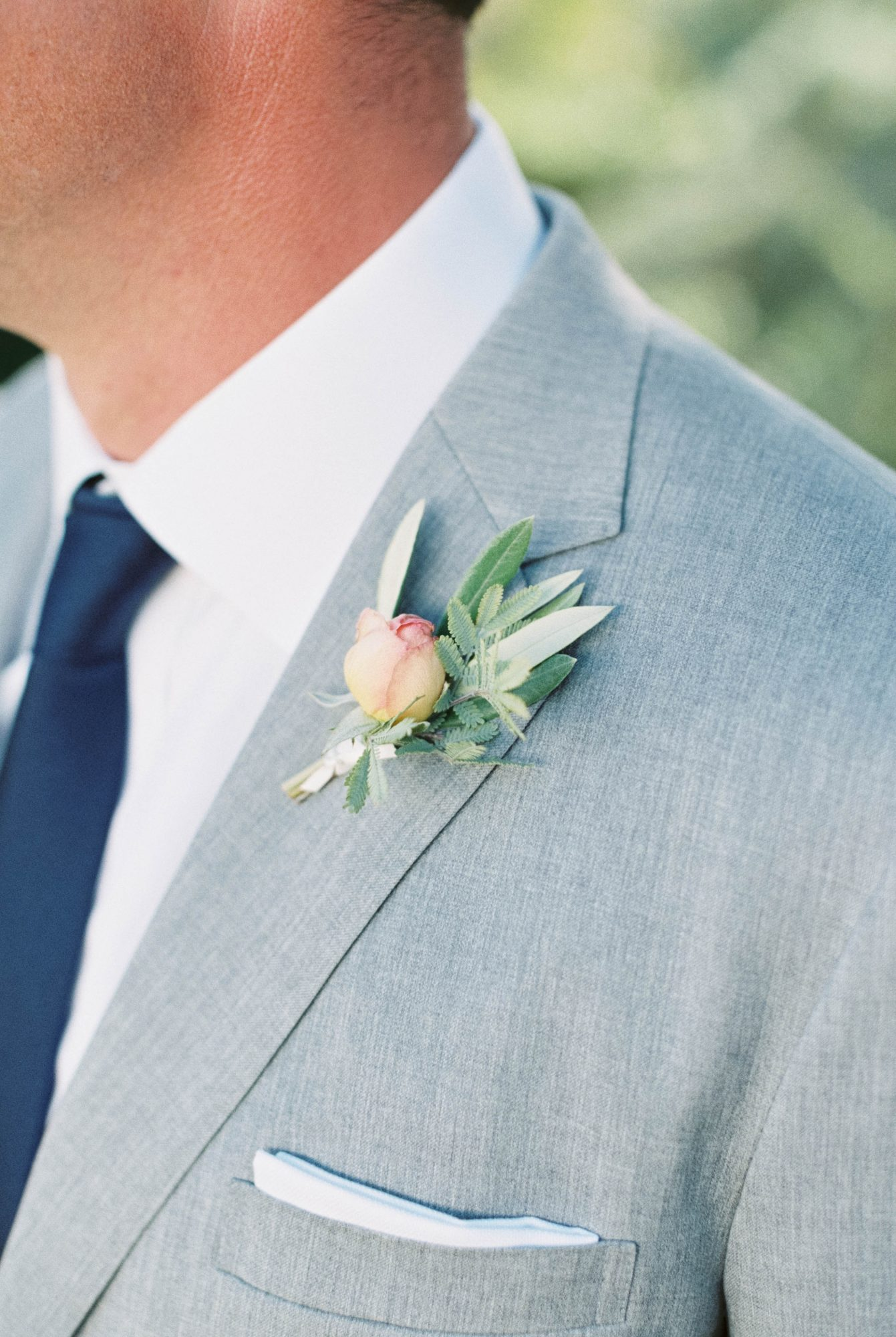pink-and-orange boutonniere