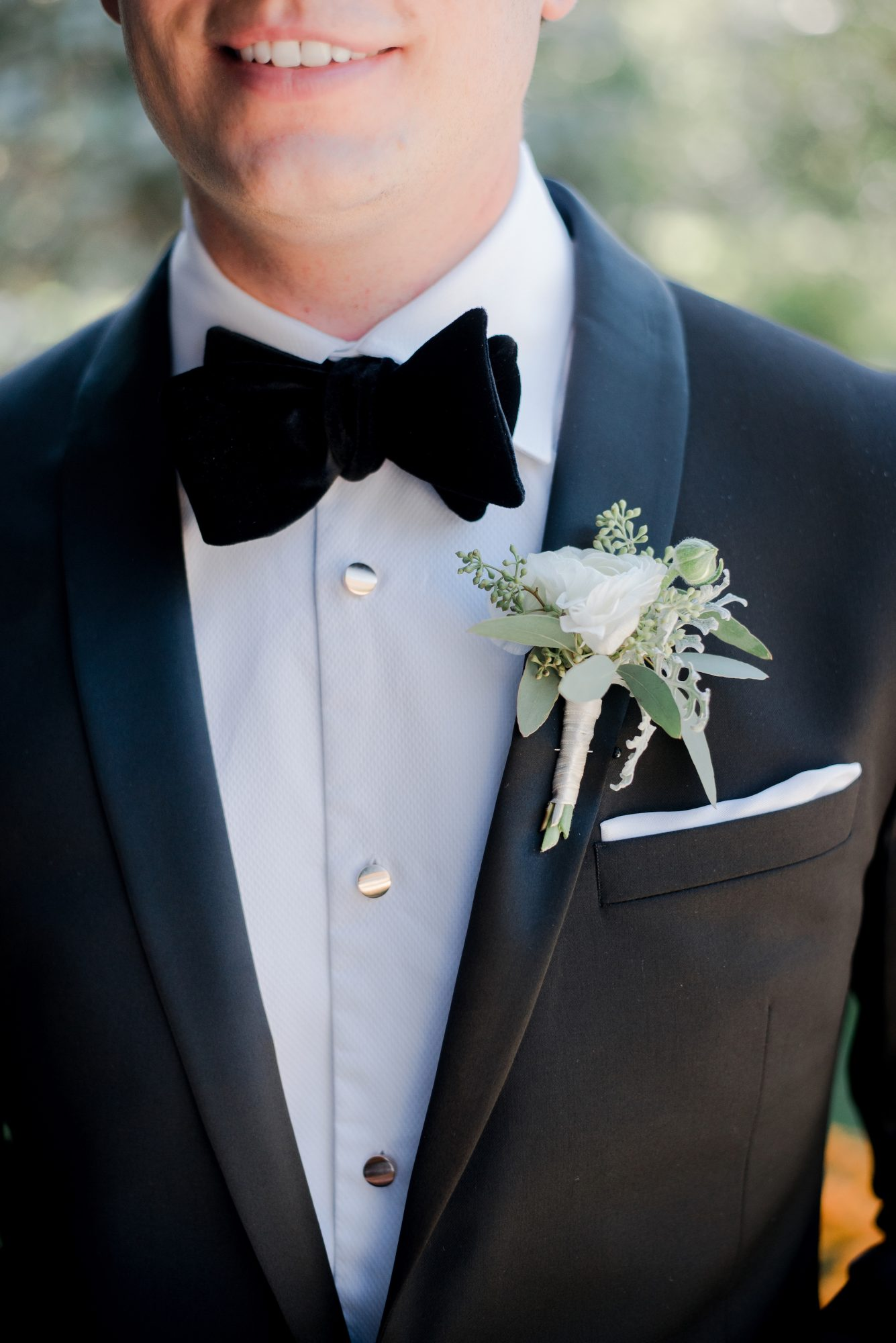 White-and-Green Boutonnière