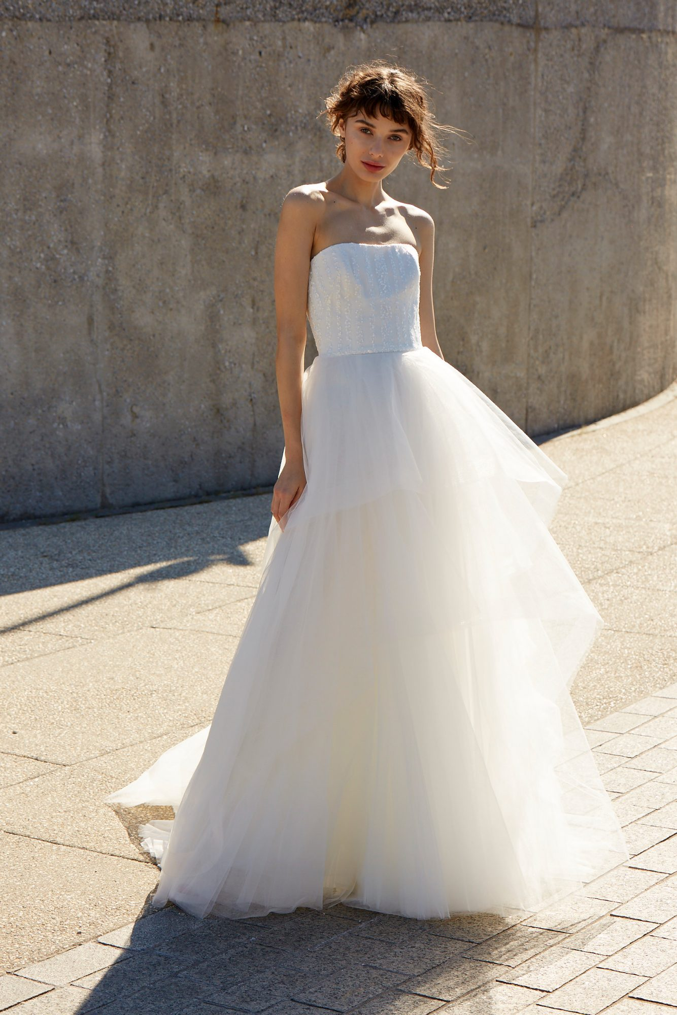nouvelle amsale dress fall 2018 strapless tulle ball gown ruffles