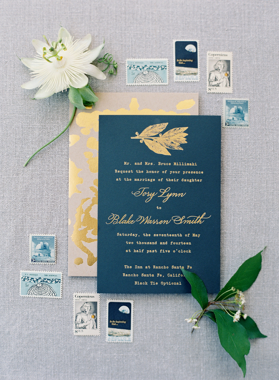 gold wedding invitation