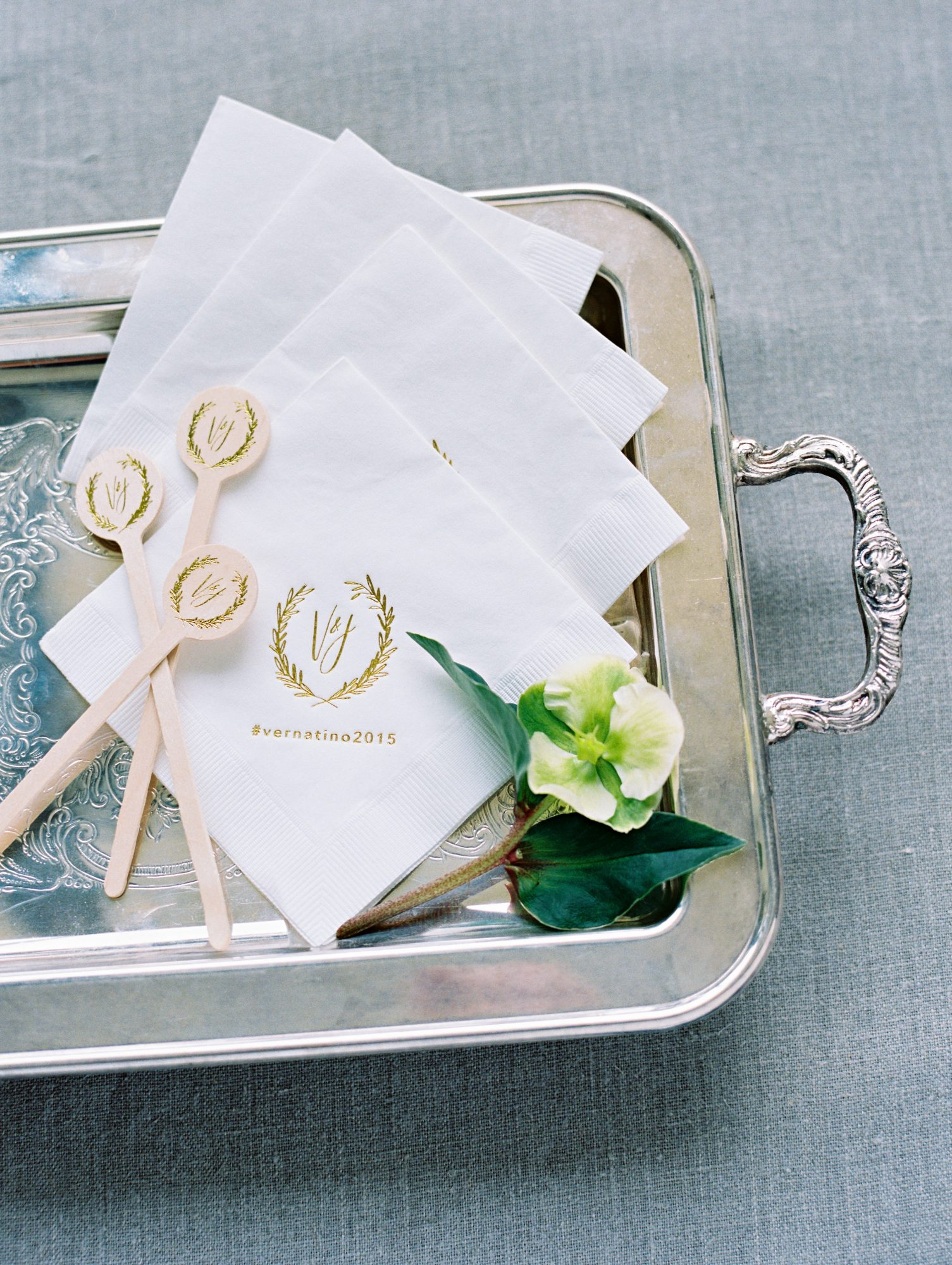 gold foil napkins stirrers