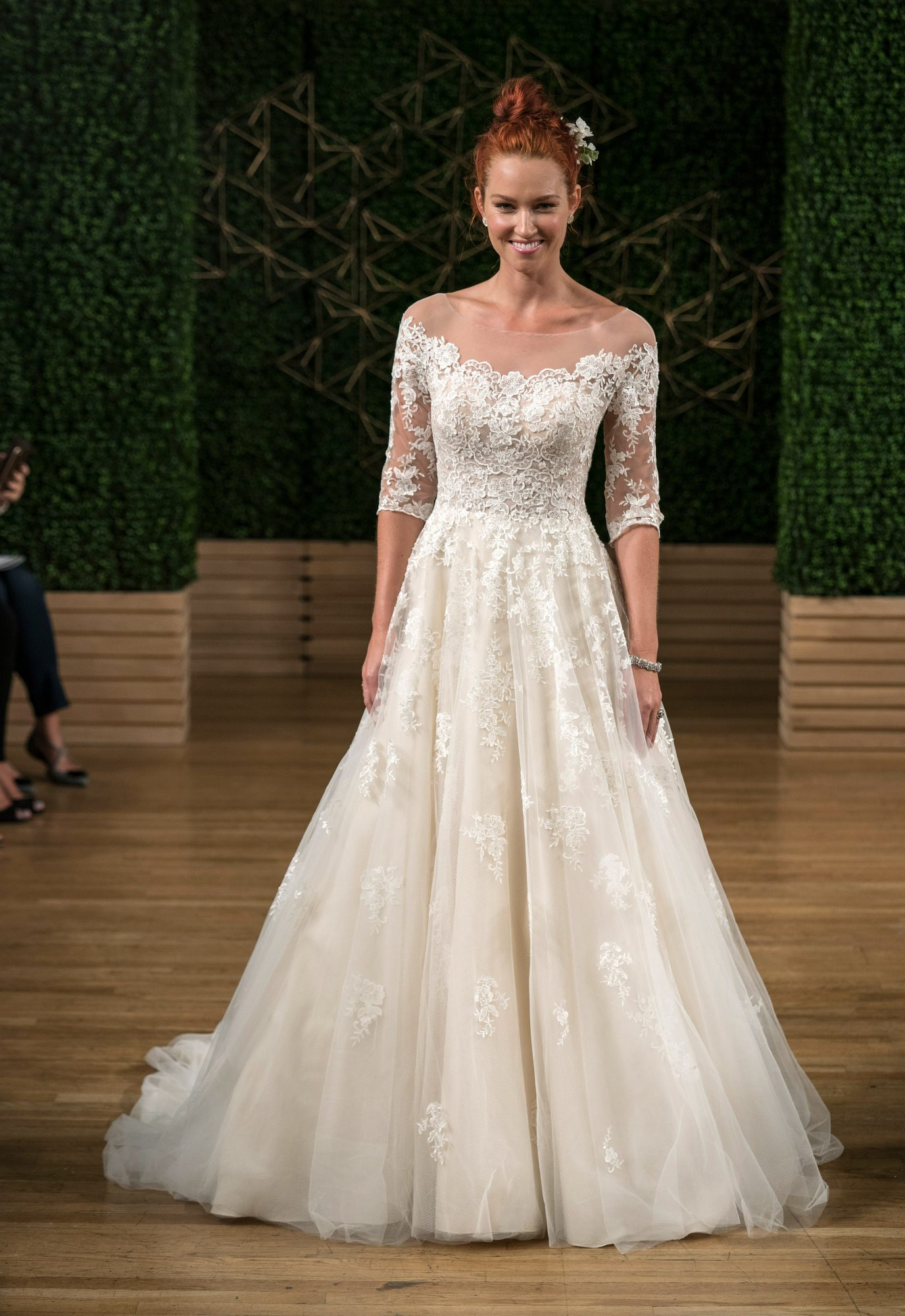maggie sottero wedding dress fall 2018 off the shoulder lace three quarter length sleeves