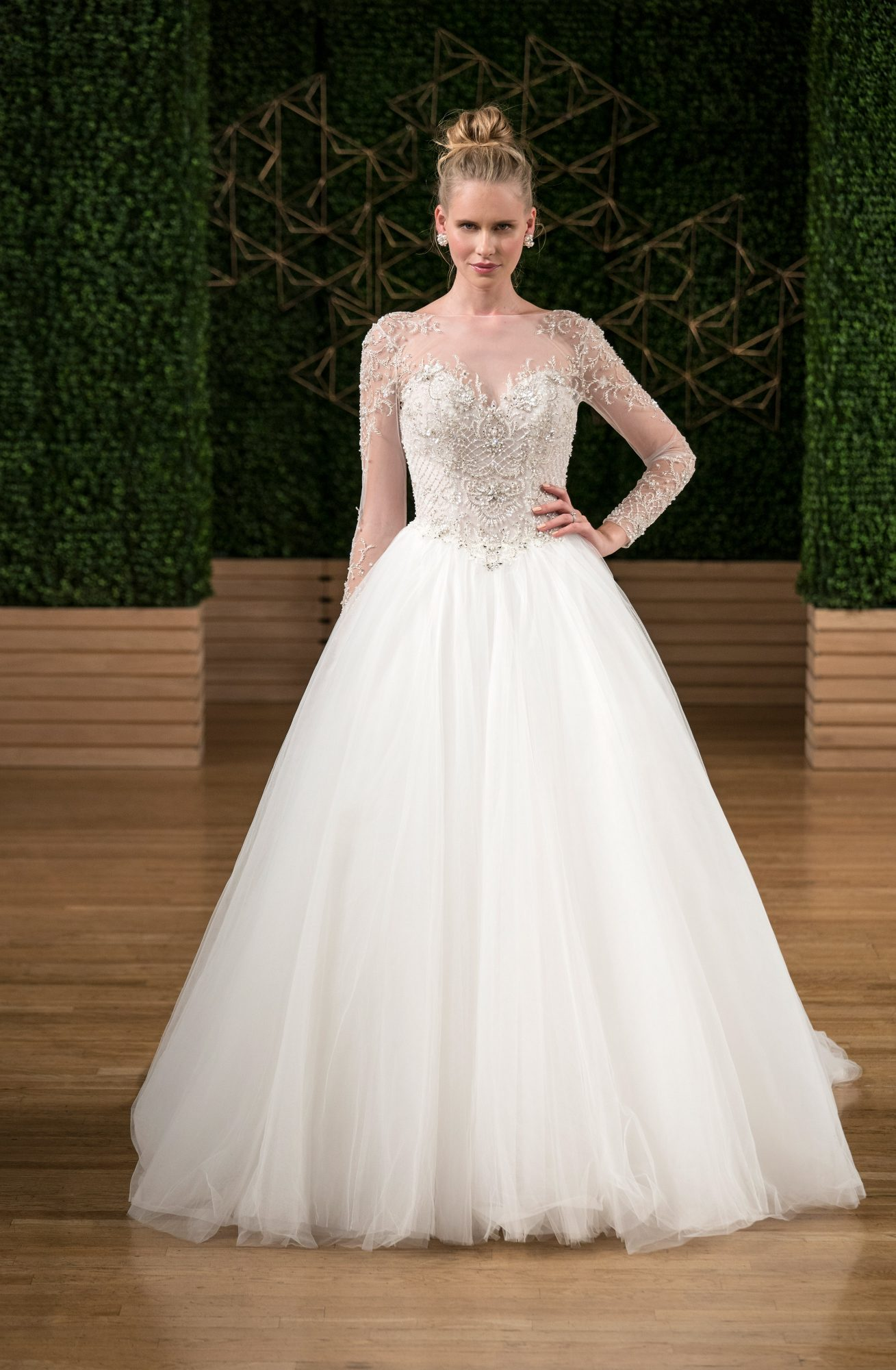 sottero midgley wedding dress fall 2018 ball gown tulle illusion long sleeves