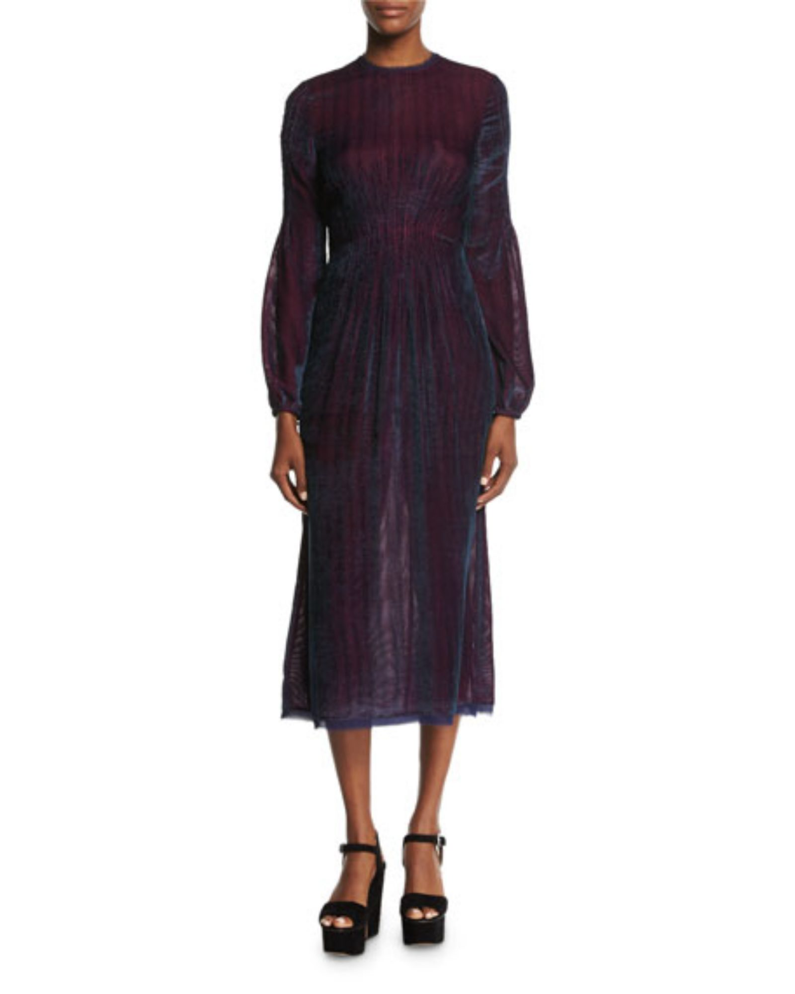 purple and blue long sleeve gown