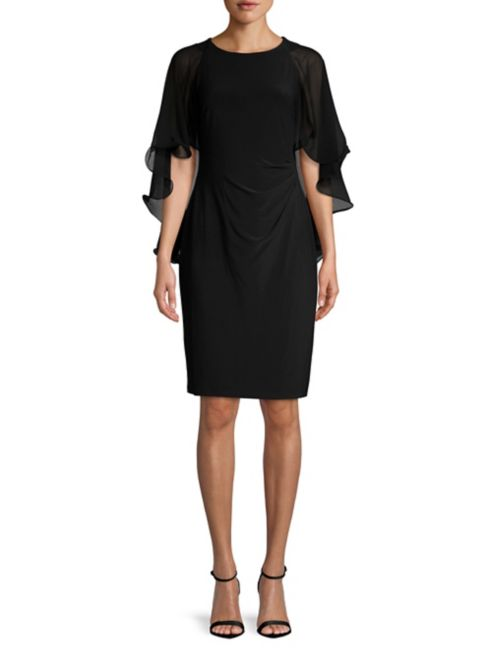 mother of the bride dress black sleeveless caped sheath