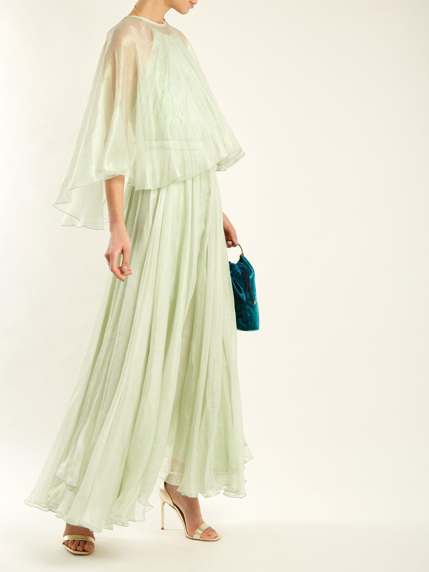 mother of the bride dress green detachable cape gown