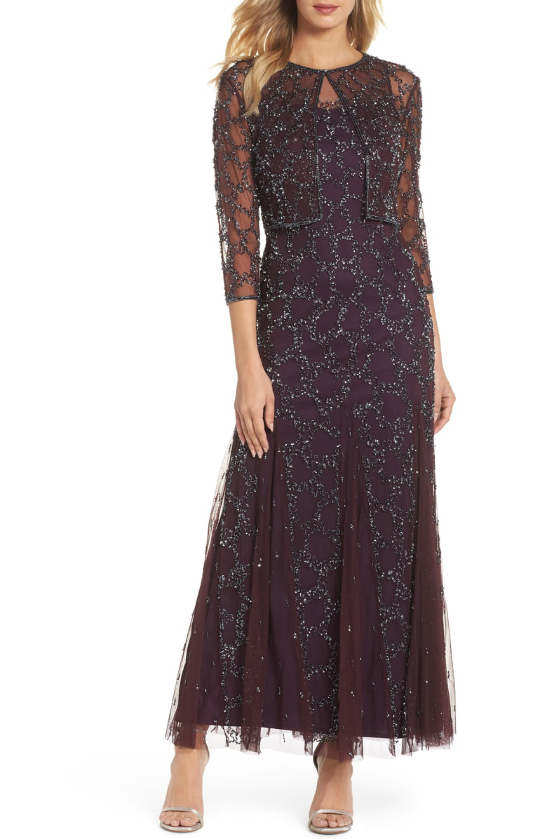 mother of the bride dress mesh gown with jacket
