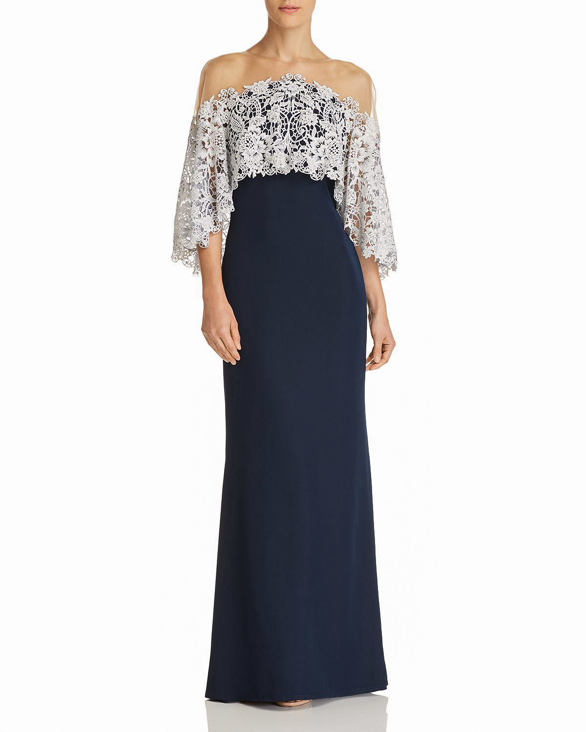 mother of the bride dress illusion capelet gown