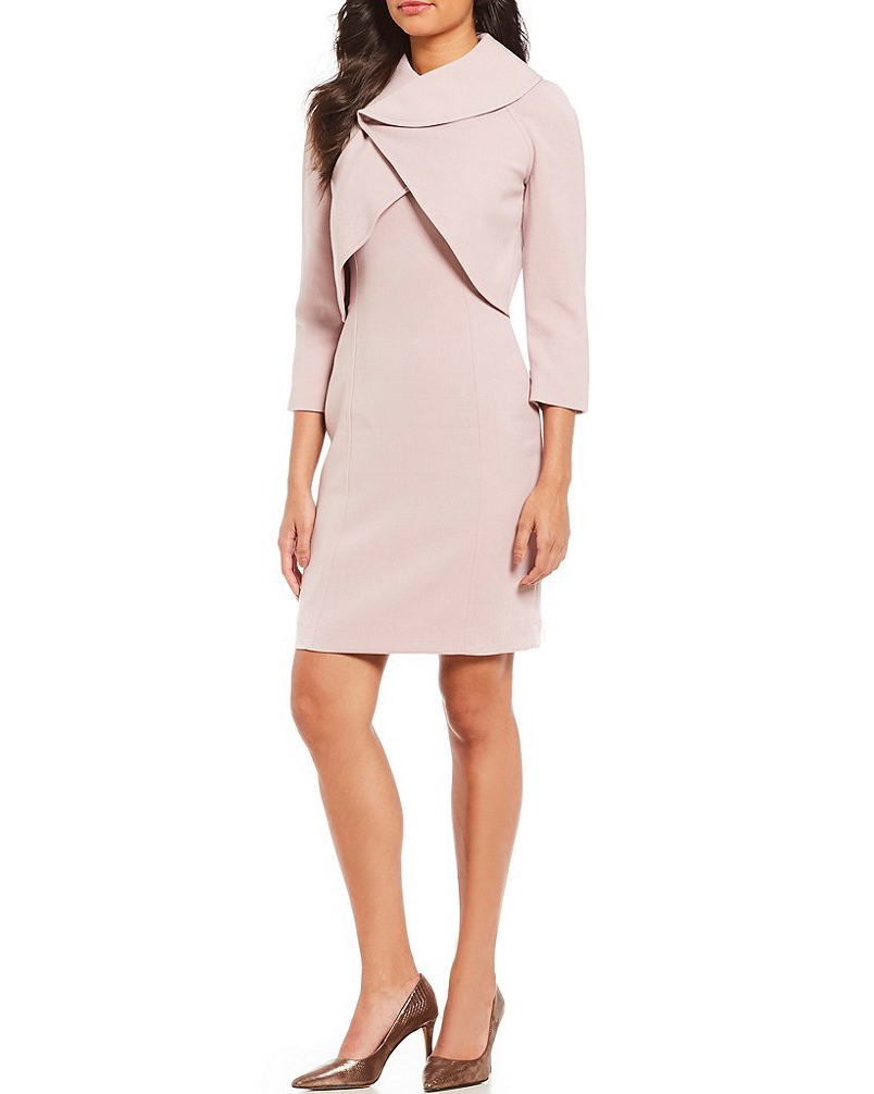mother of the bride dress pink wrap jacket suit