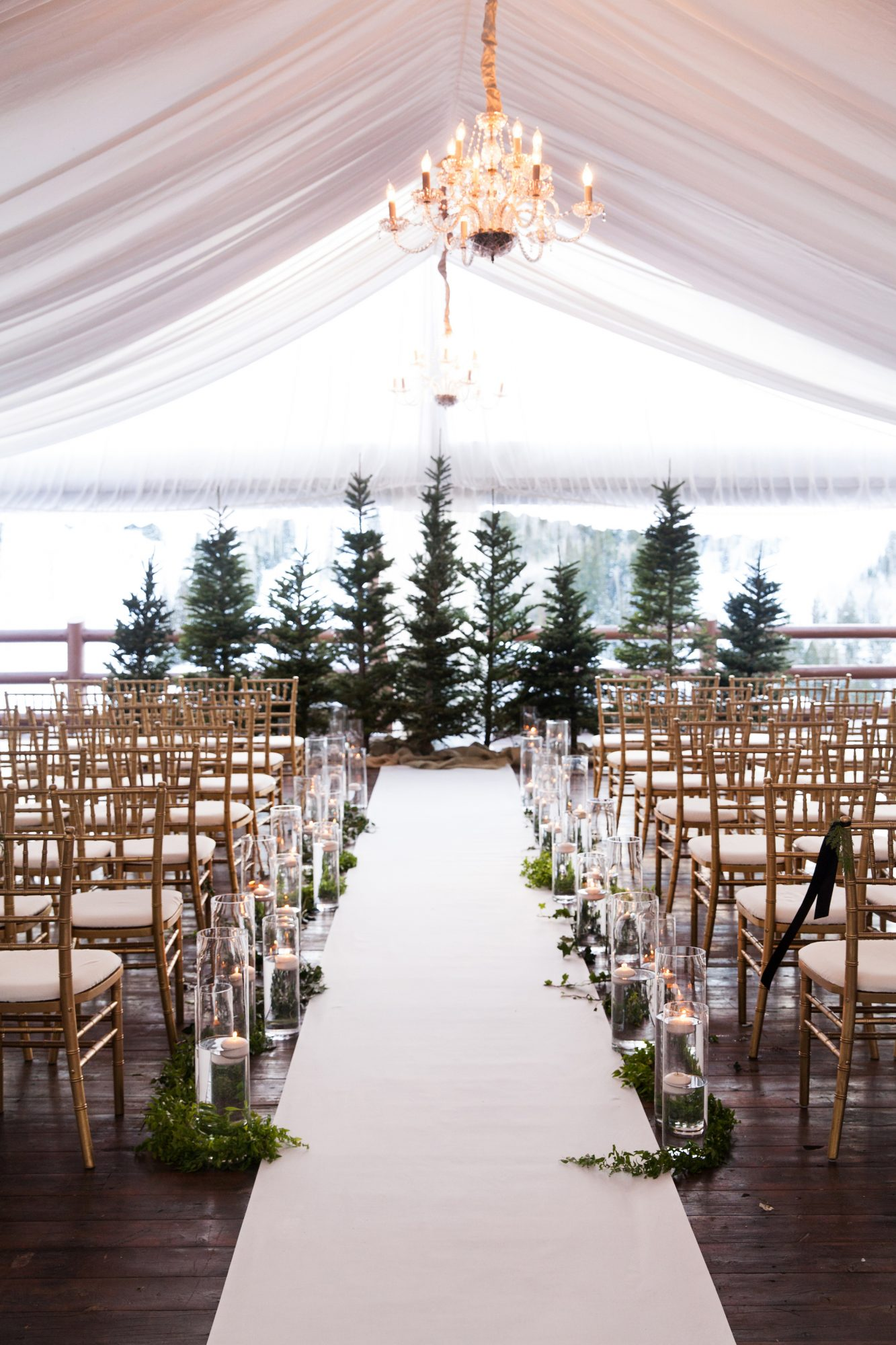 ceremony aisle pine trees