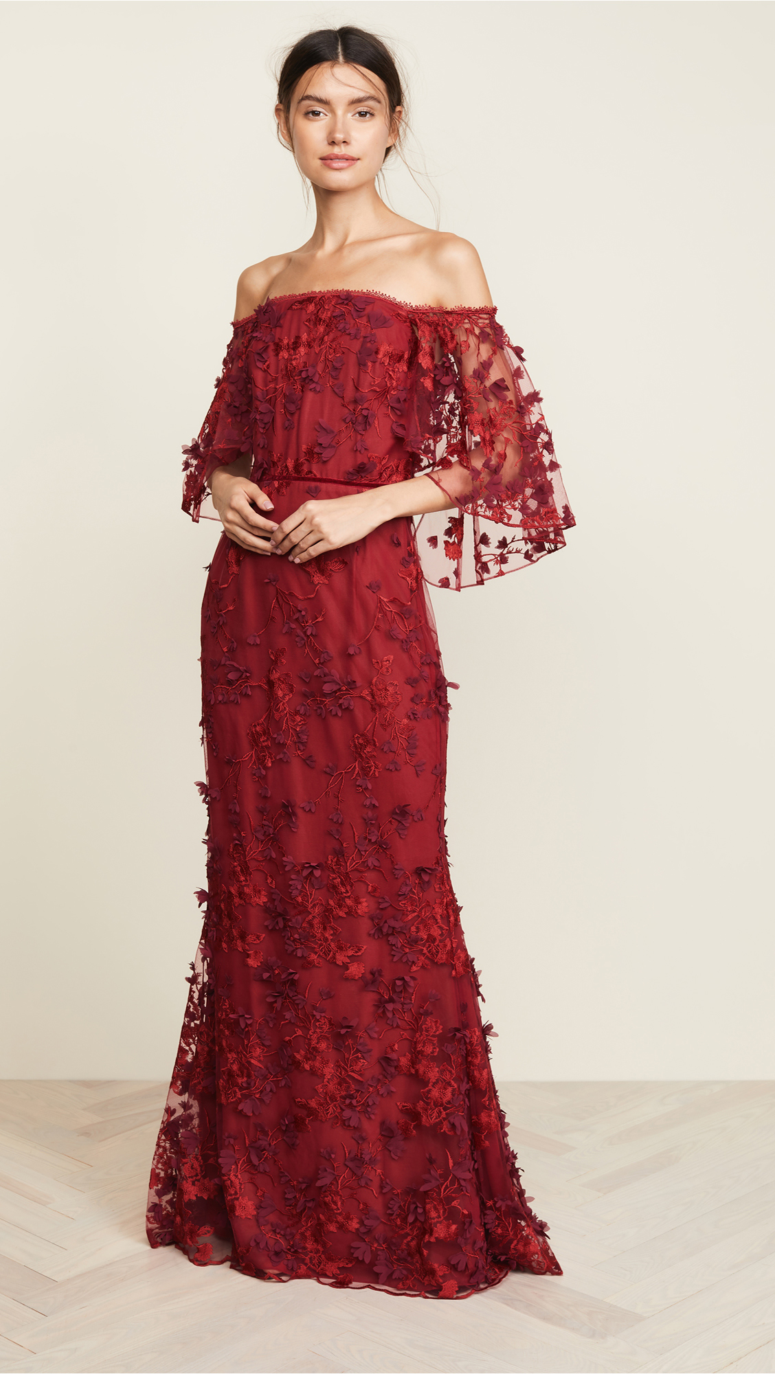 Marchesa Notte Flutter-Sleeve Embroidered Gown