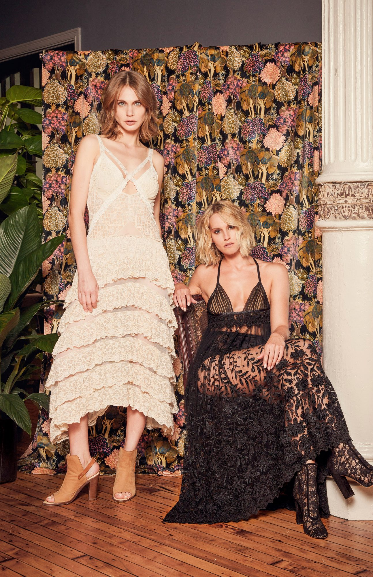 white and black lacey gowns
