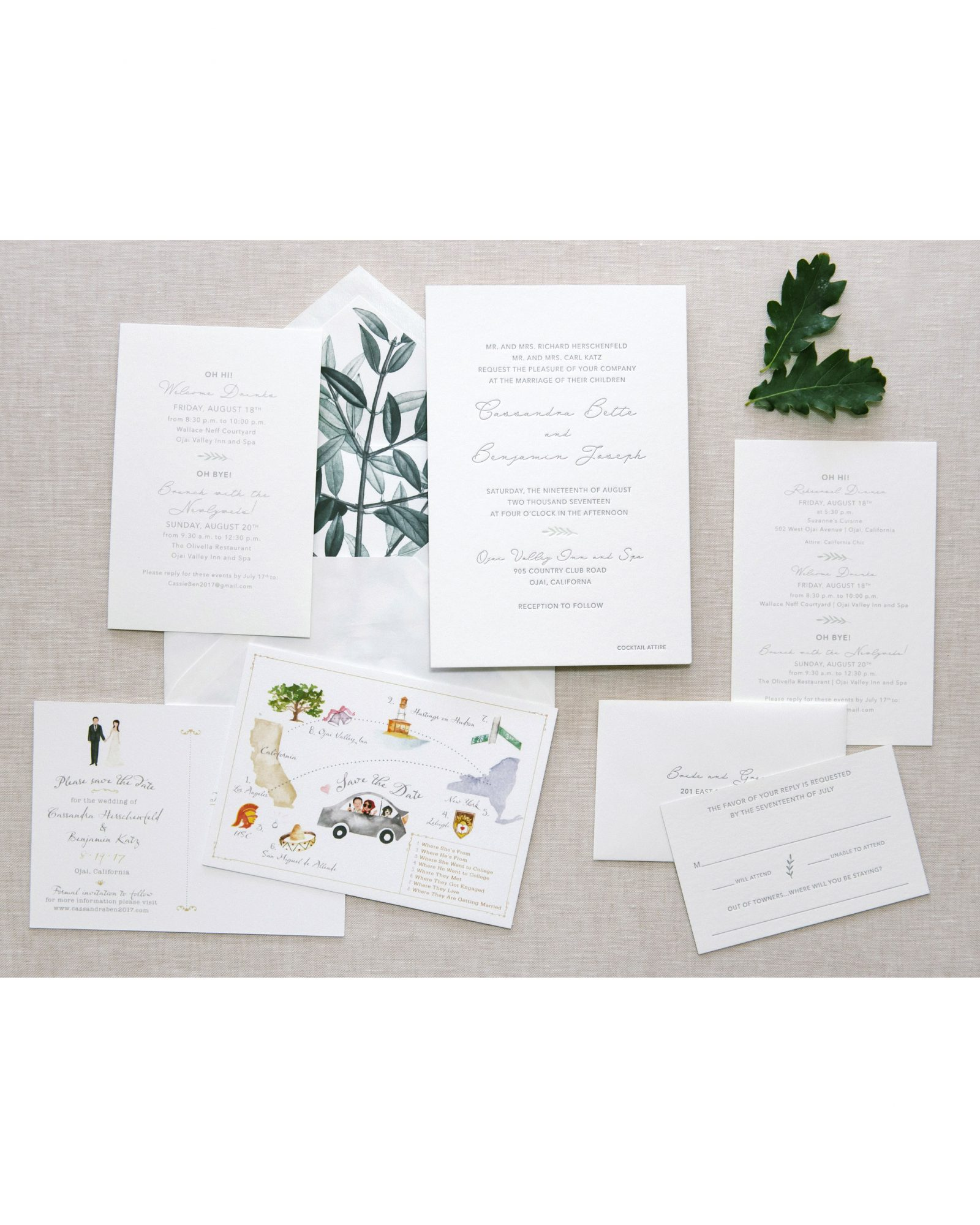 cassandra ben wedding california stationery