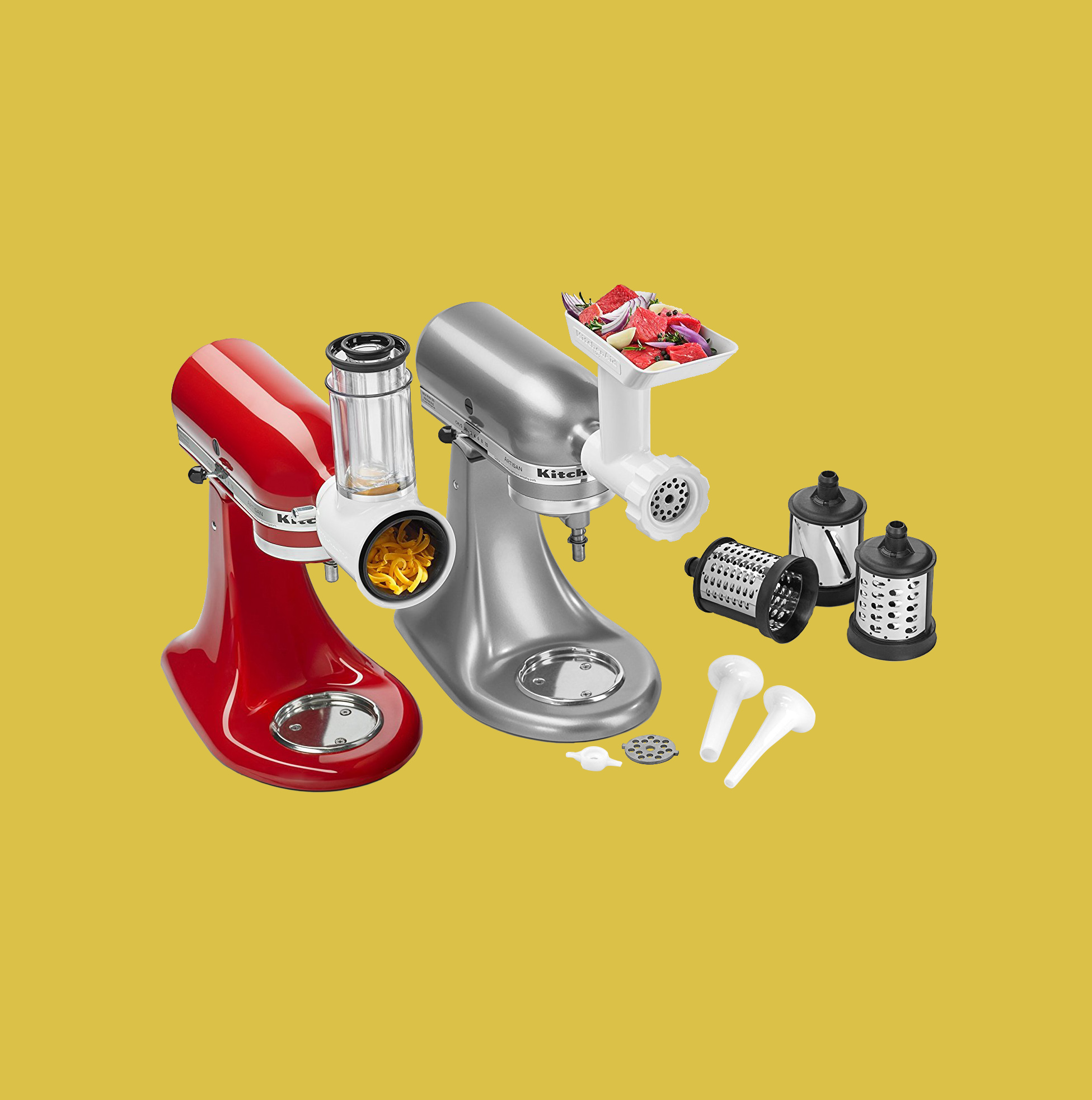 red and stainless steel KichenAid Mixer Attachment Pack