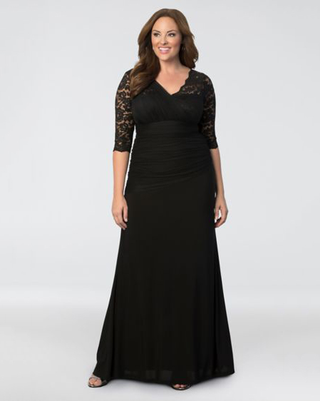 black lace top gown