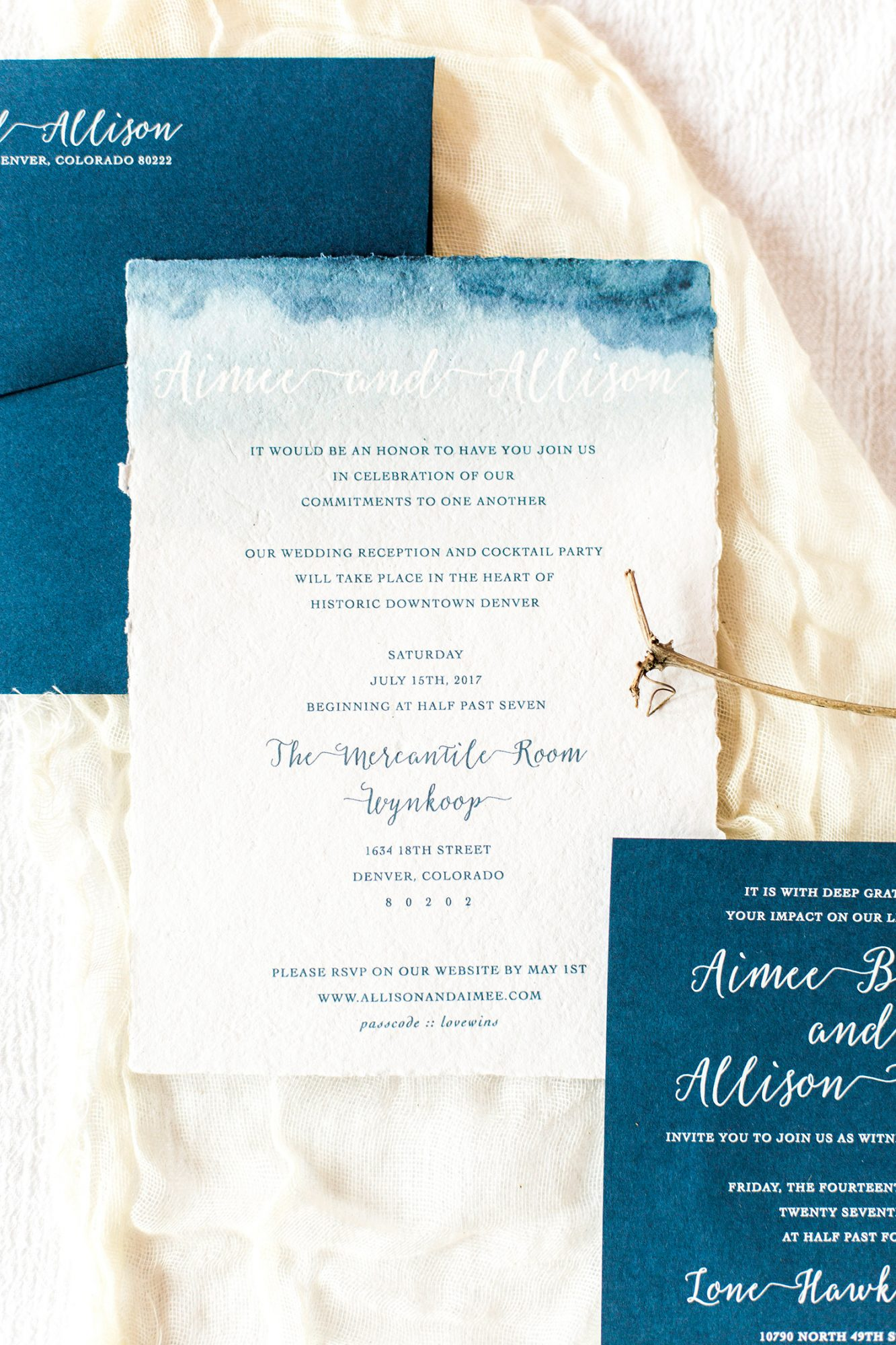 allison aimee wedding watercolor stationery