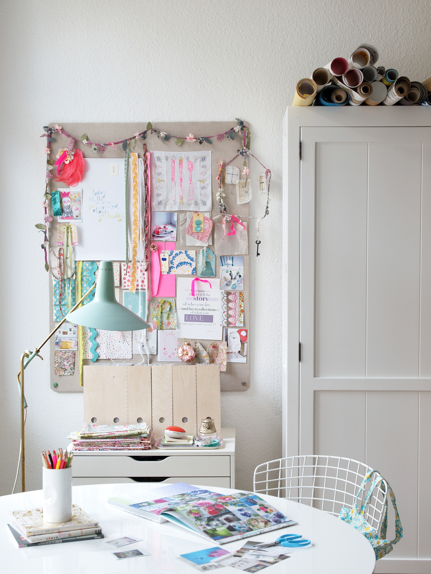 white home office vision board