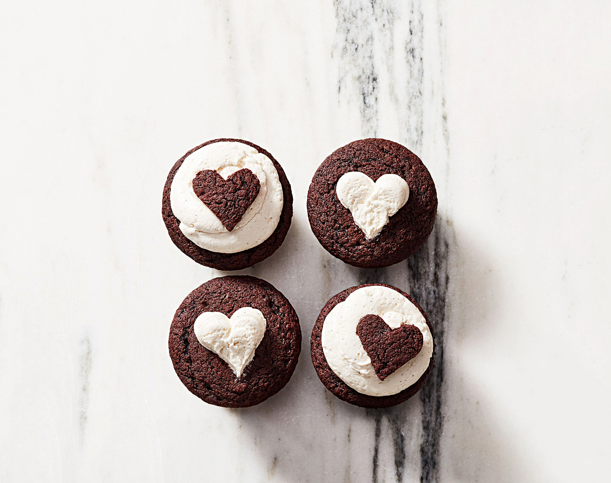 chocolate cupcakes with milk-chocolate frosting
