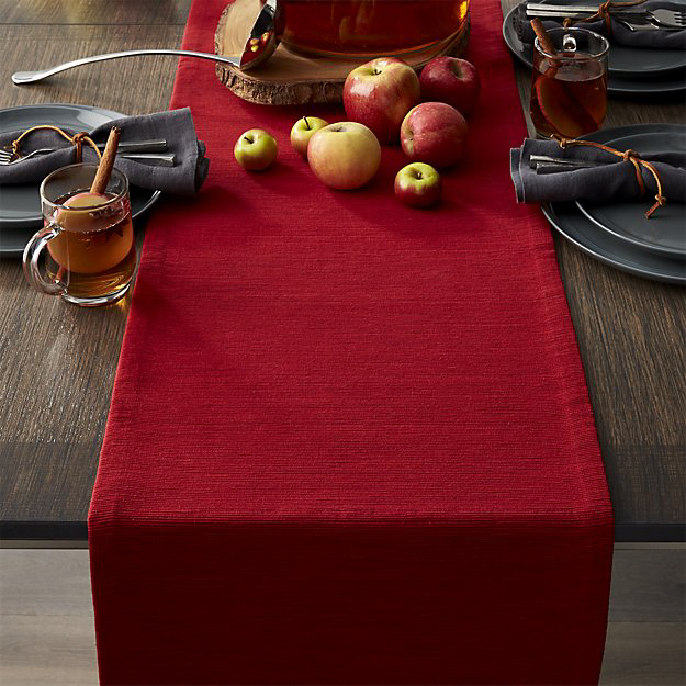 Grasscloth Ruby Red Table Runner