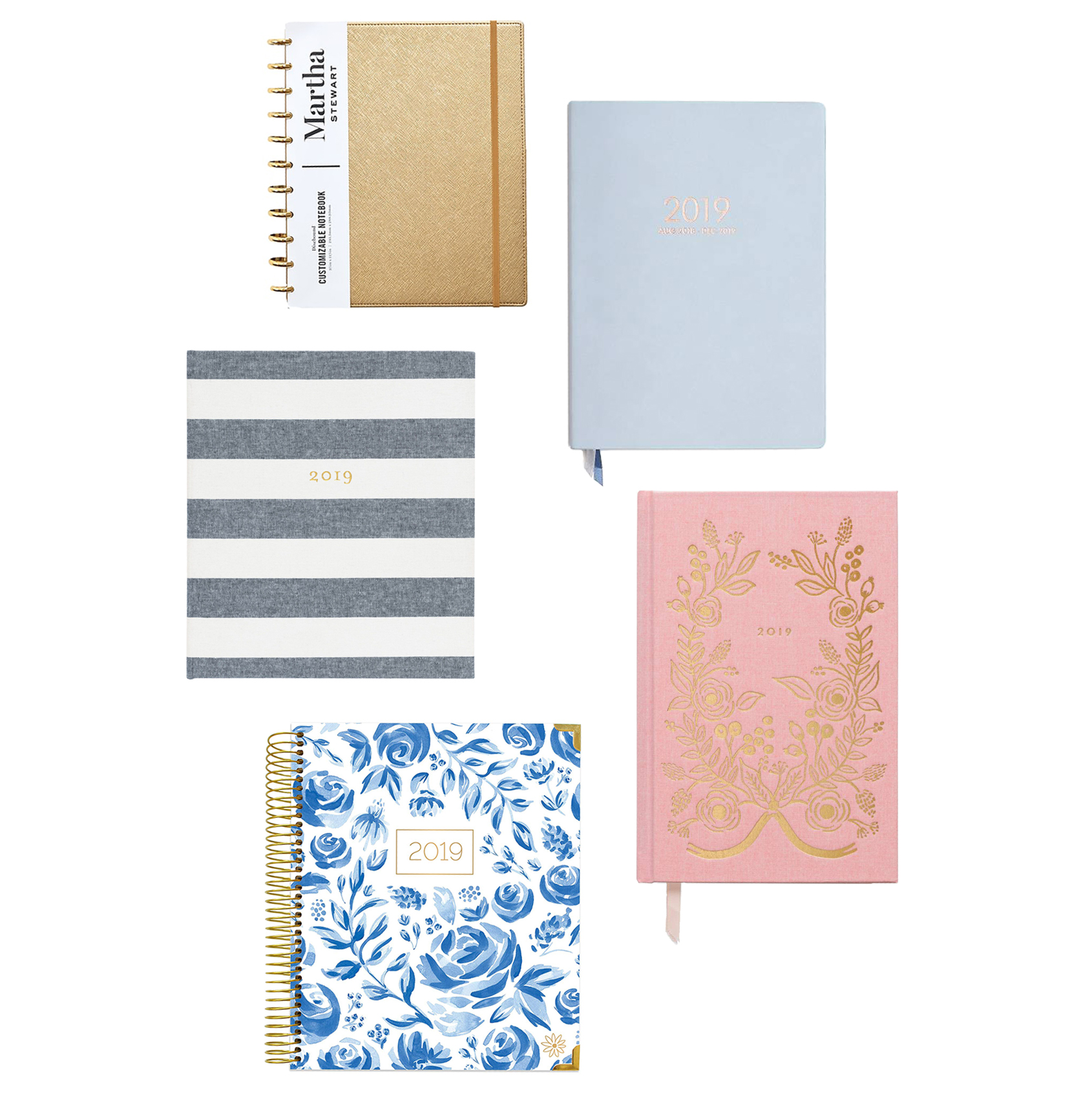 2019 planner collage blue and pink and gold