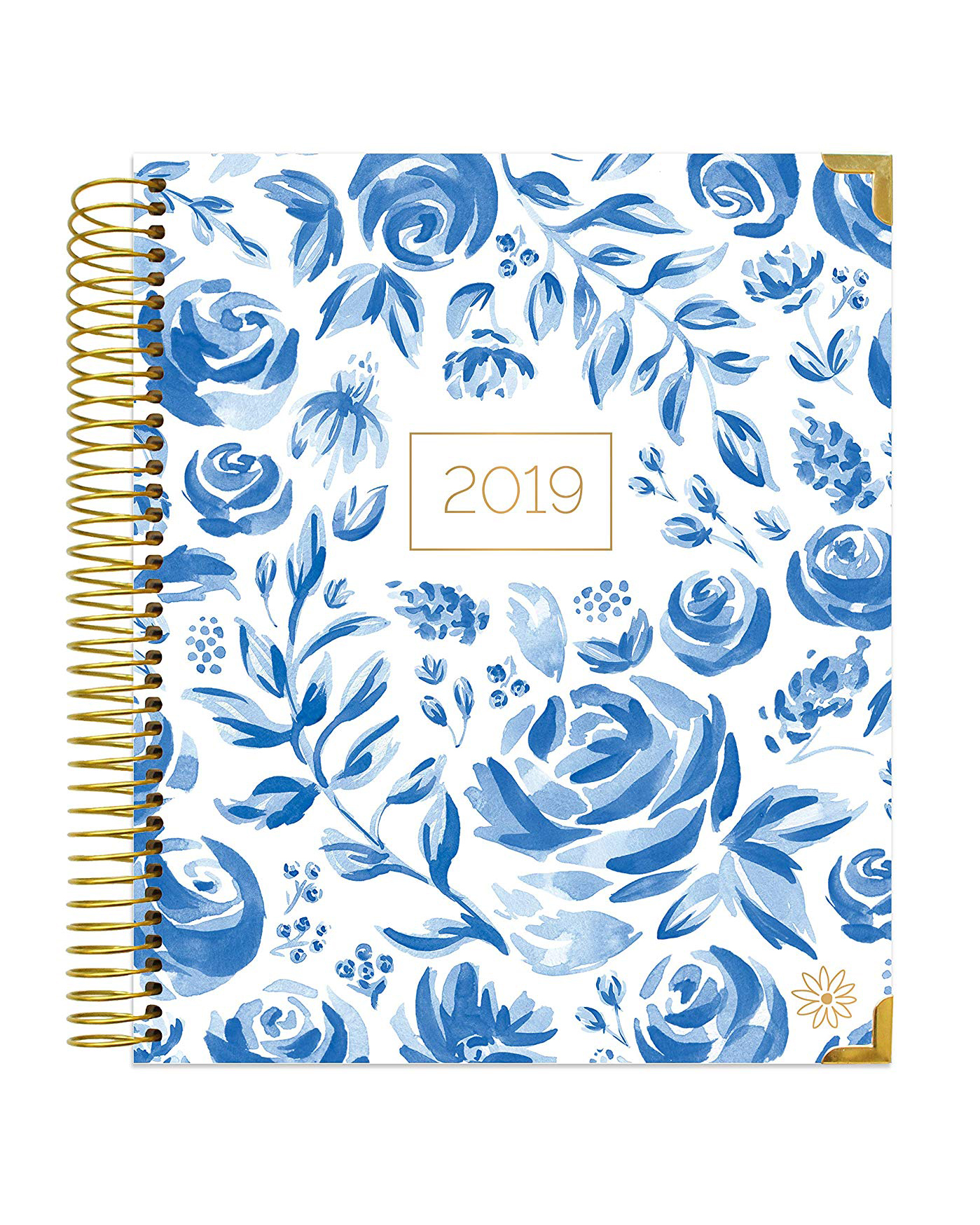 bloom daily planner 2019 blue flowers