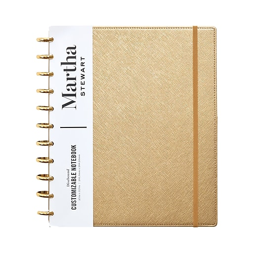 Martha Stewart Notebook Gold Faux Leather Letter Discbound Notebook