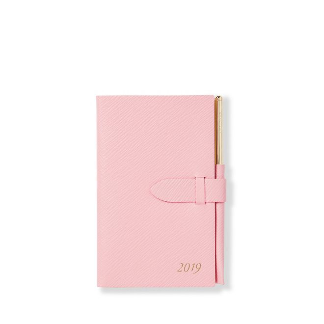 Smythson of Bond Street 2019 Panama Wafer Agenda with Gilt Pencil