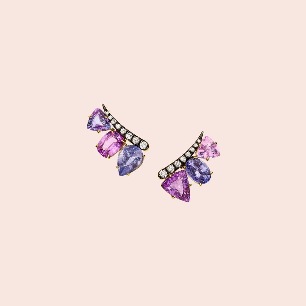 blue and pink jewel earrings
