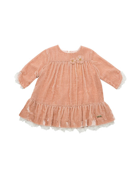 velvet lace pink flower girl dress