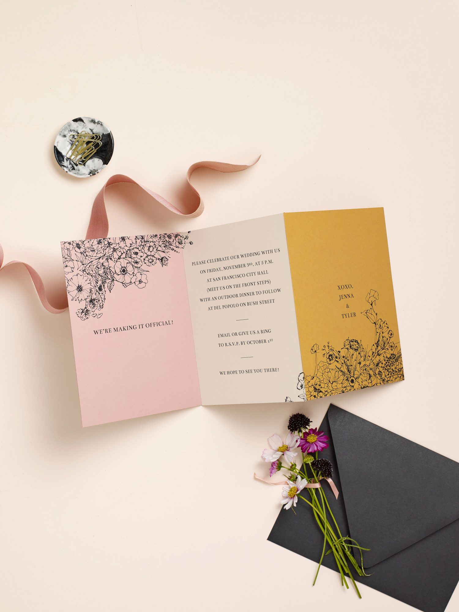 simple floral stationery suite