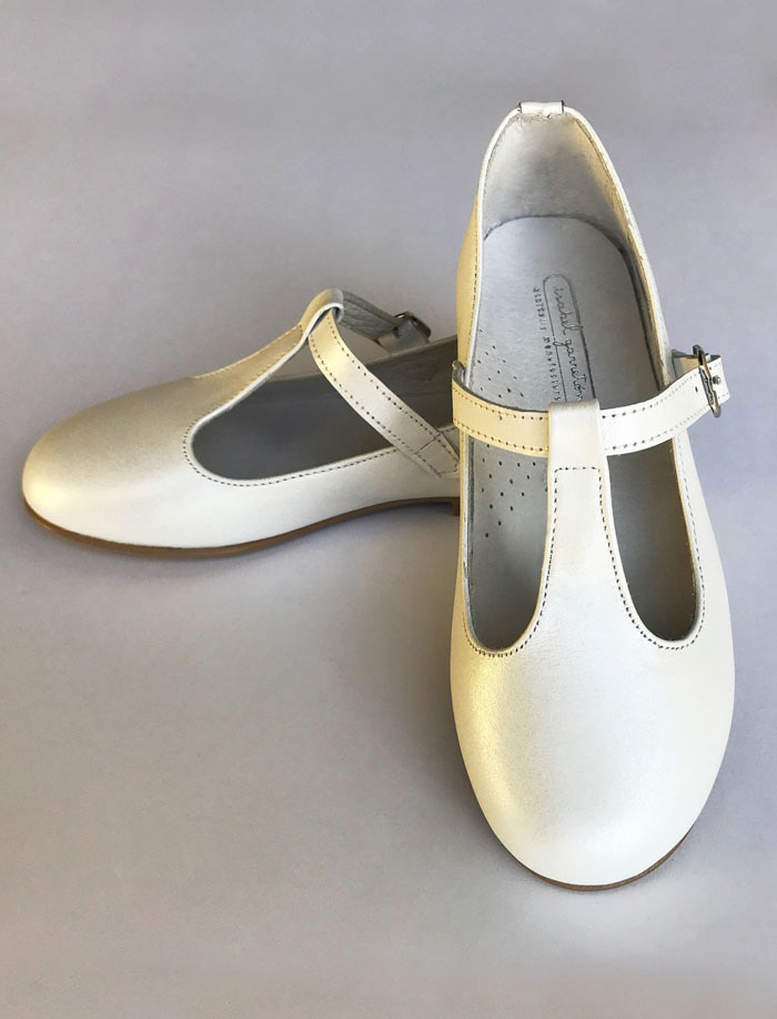 flower girl white leather party shoes with strap