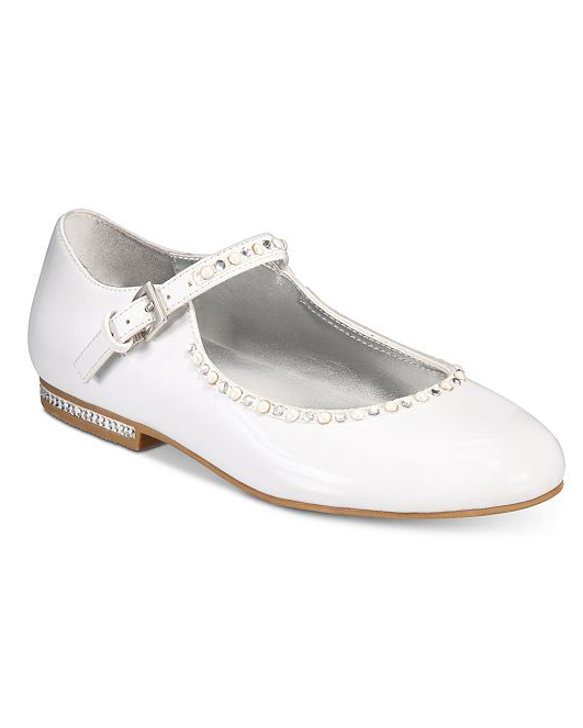 flower girl white shoes sparkle accent dress flats