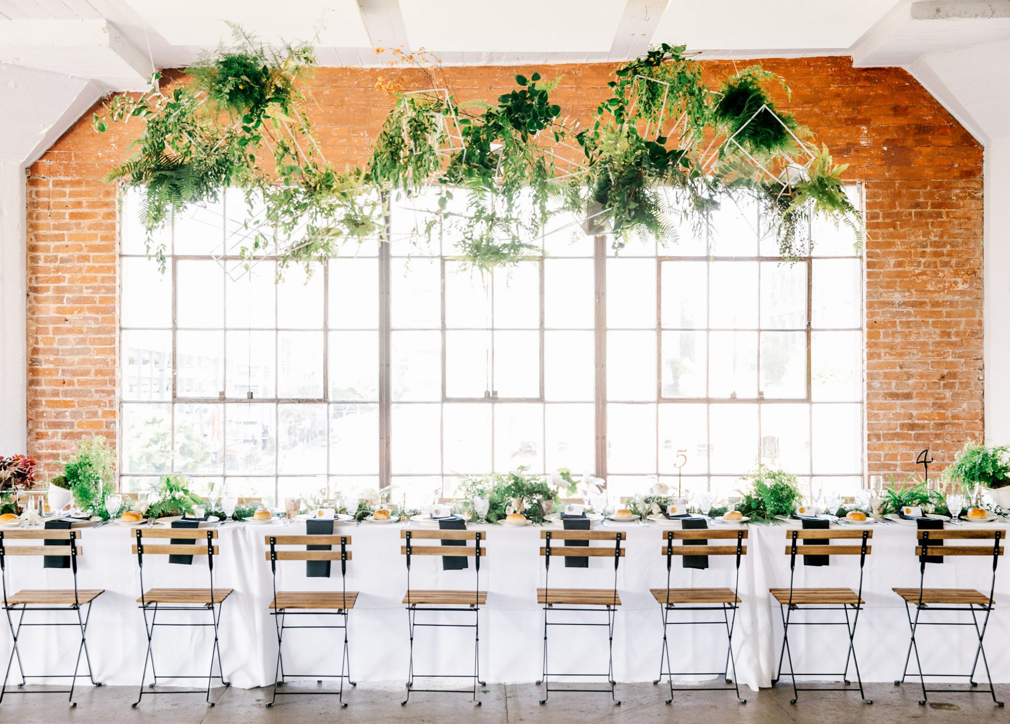 table chairs event space