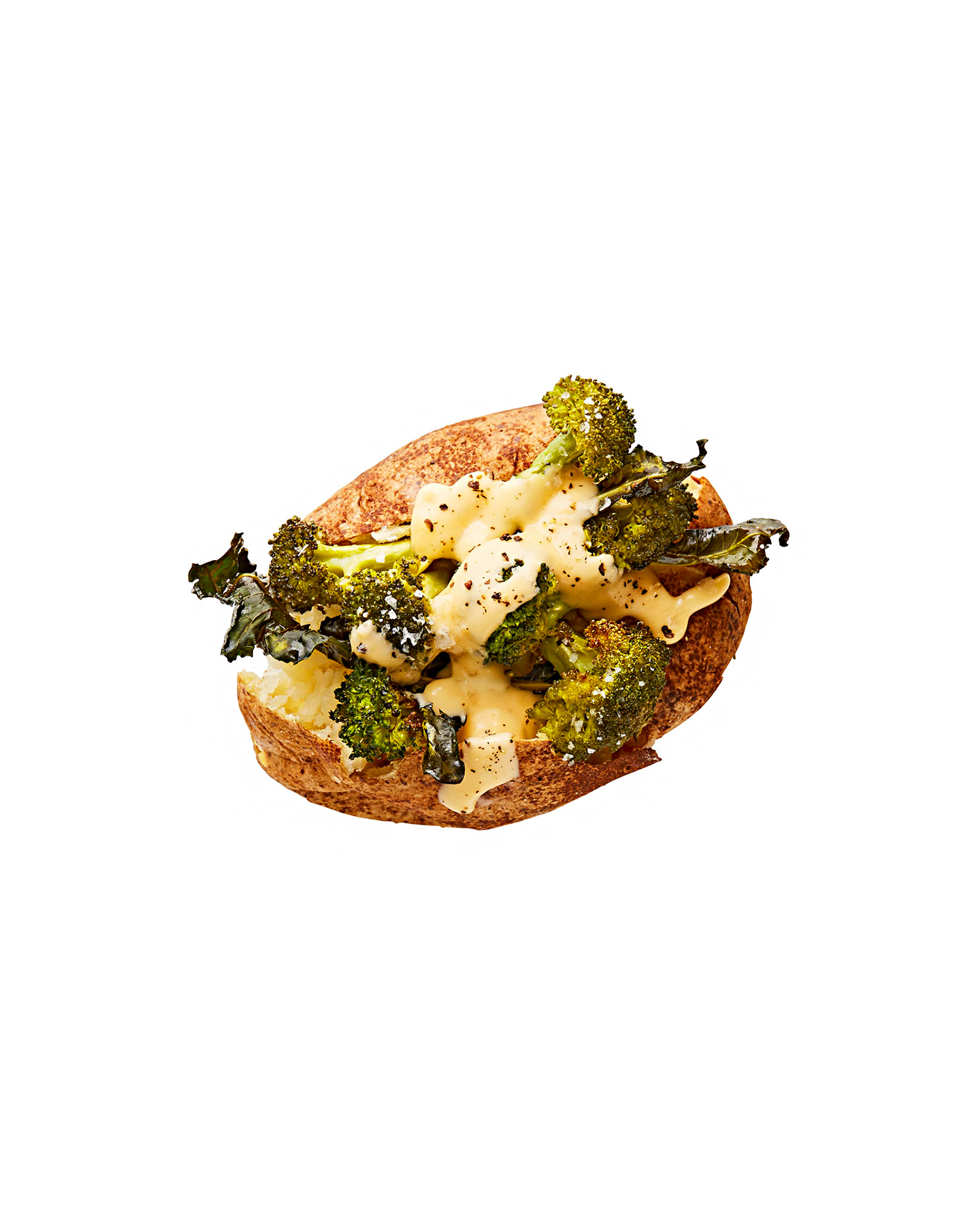 roasted broccoli with cheddar-cheese sauce baked potato