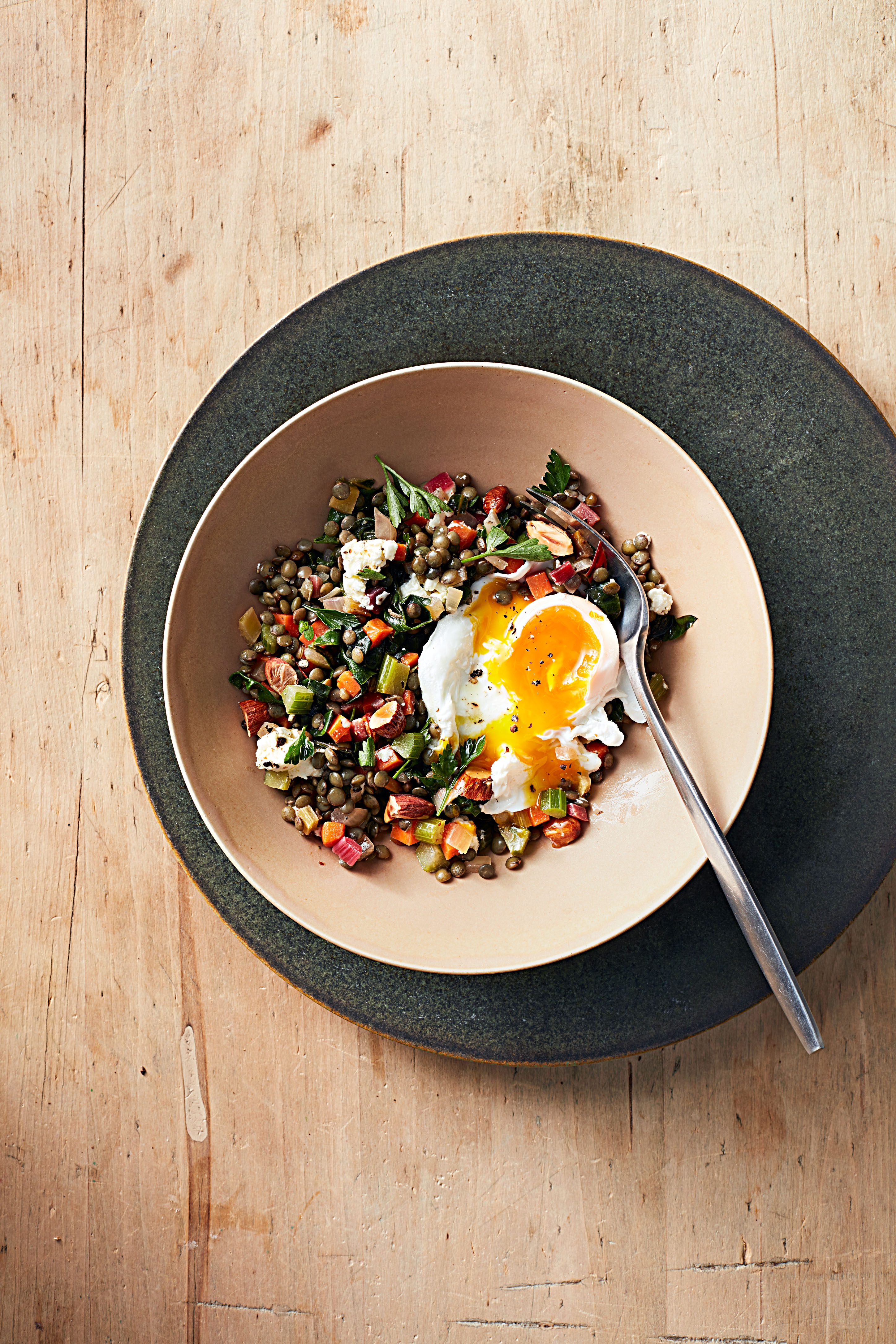 Warm Lentil Salad with Poached Eggs